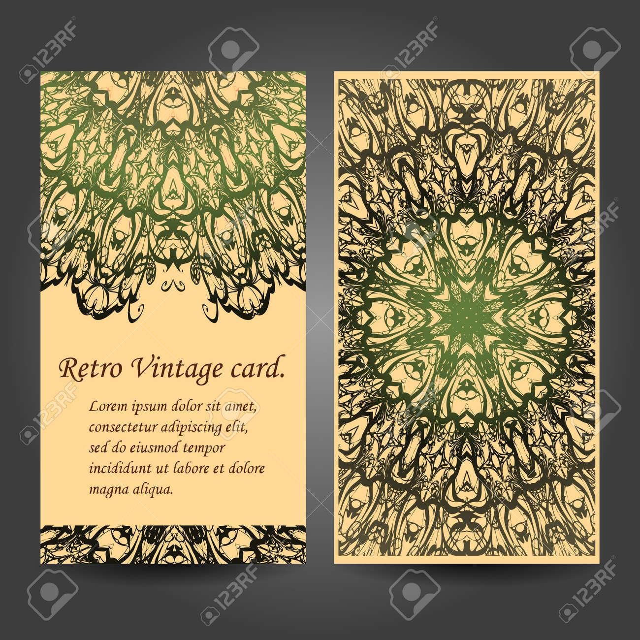 Establecer Tarjeta De Visita Retro Vector De Fondo Tarjeta O Invitación Elementos Decorativos Vintage Dibujado A Mano De Fondo Islam árabe