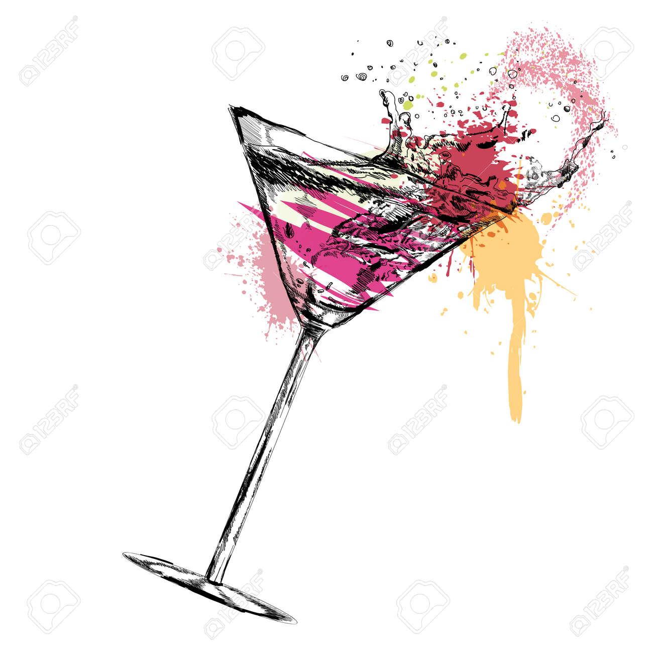 Martini cocktail on white background. Vector illustration. EPS - 46432497