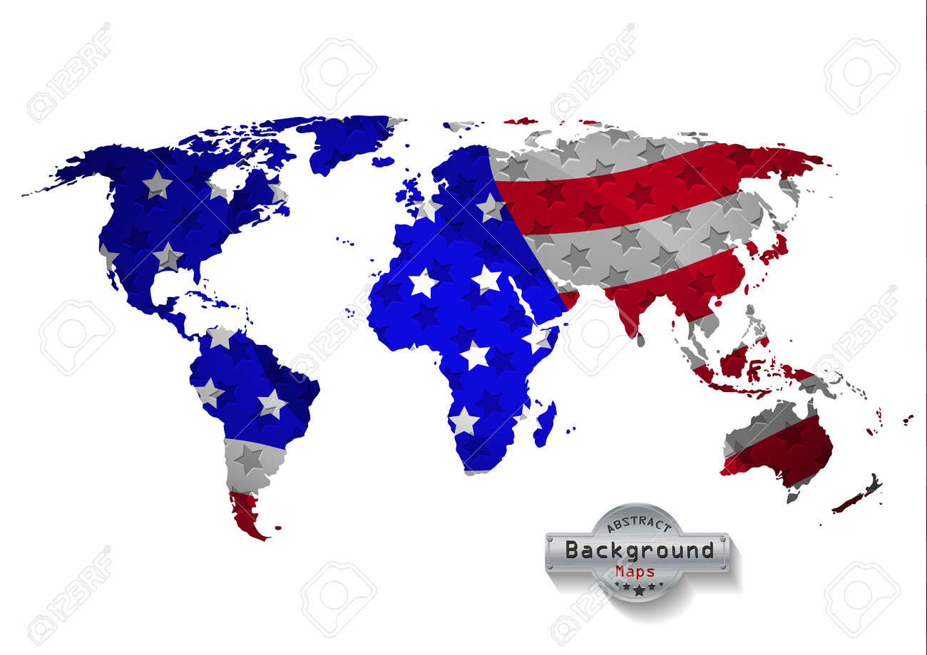 The World Map With USA With Russia And All States. Vector EPS ...