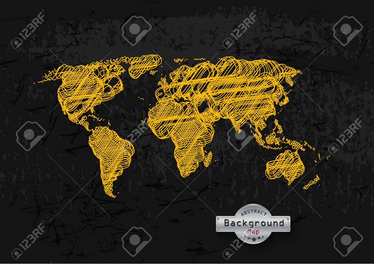 Carte Du Monde Jaune.Tire Par La Main Carte Du Monde Jaune Sur Un Fond Gris