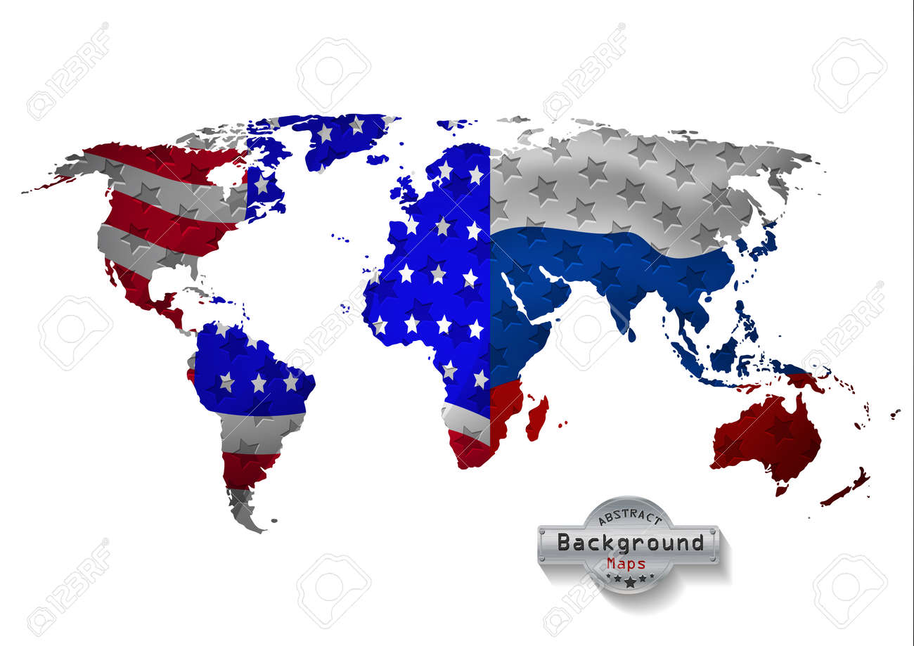 Usa And Russia Map.The World Map With Usa With Russia And All States Stock Photo