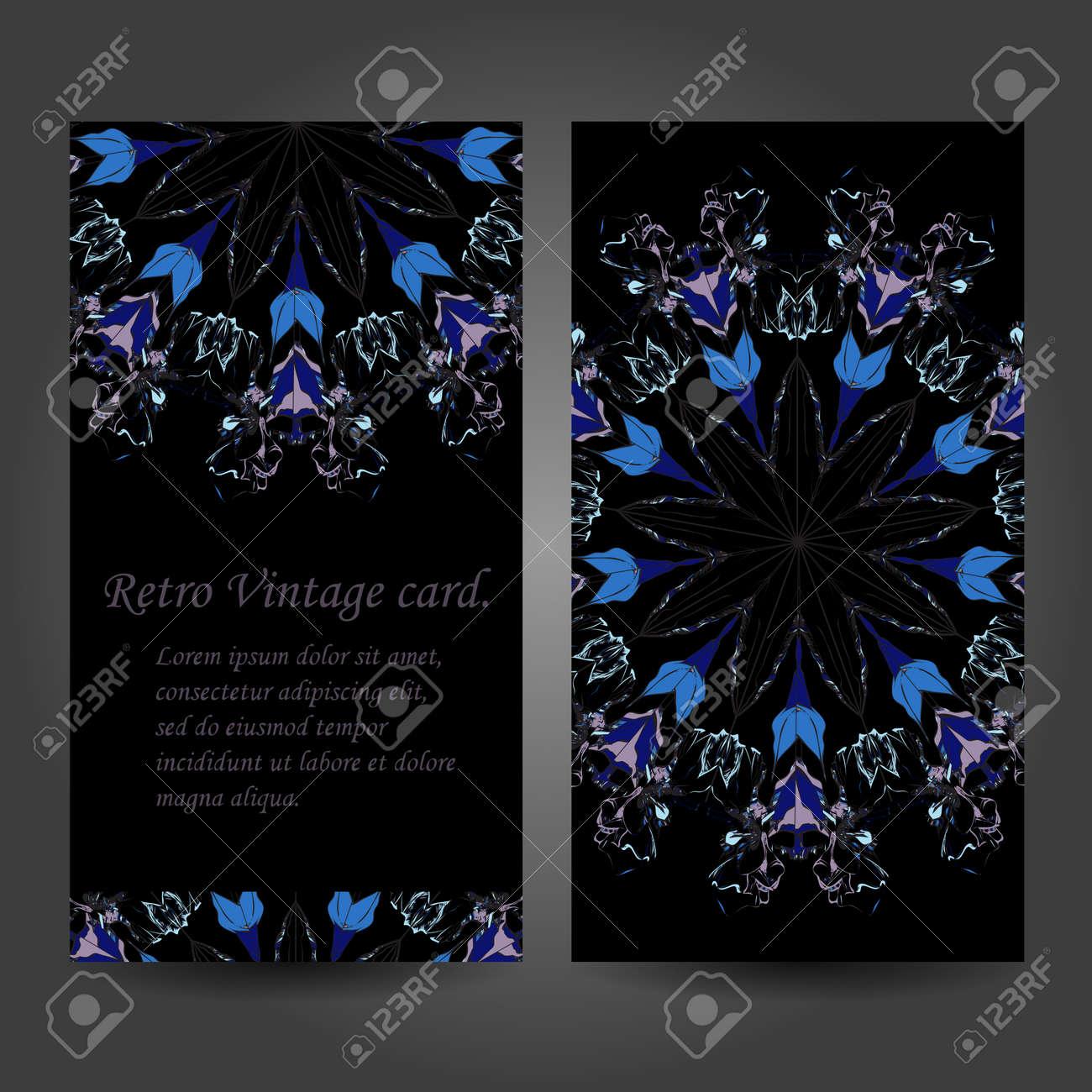 Set Retro Carte De Visite Vecteur Fond Ou Invitation Elements Decoratifs