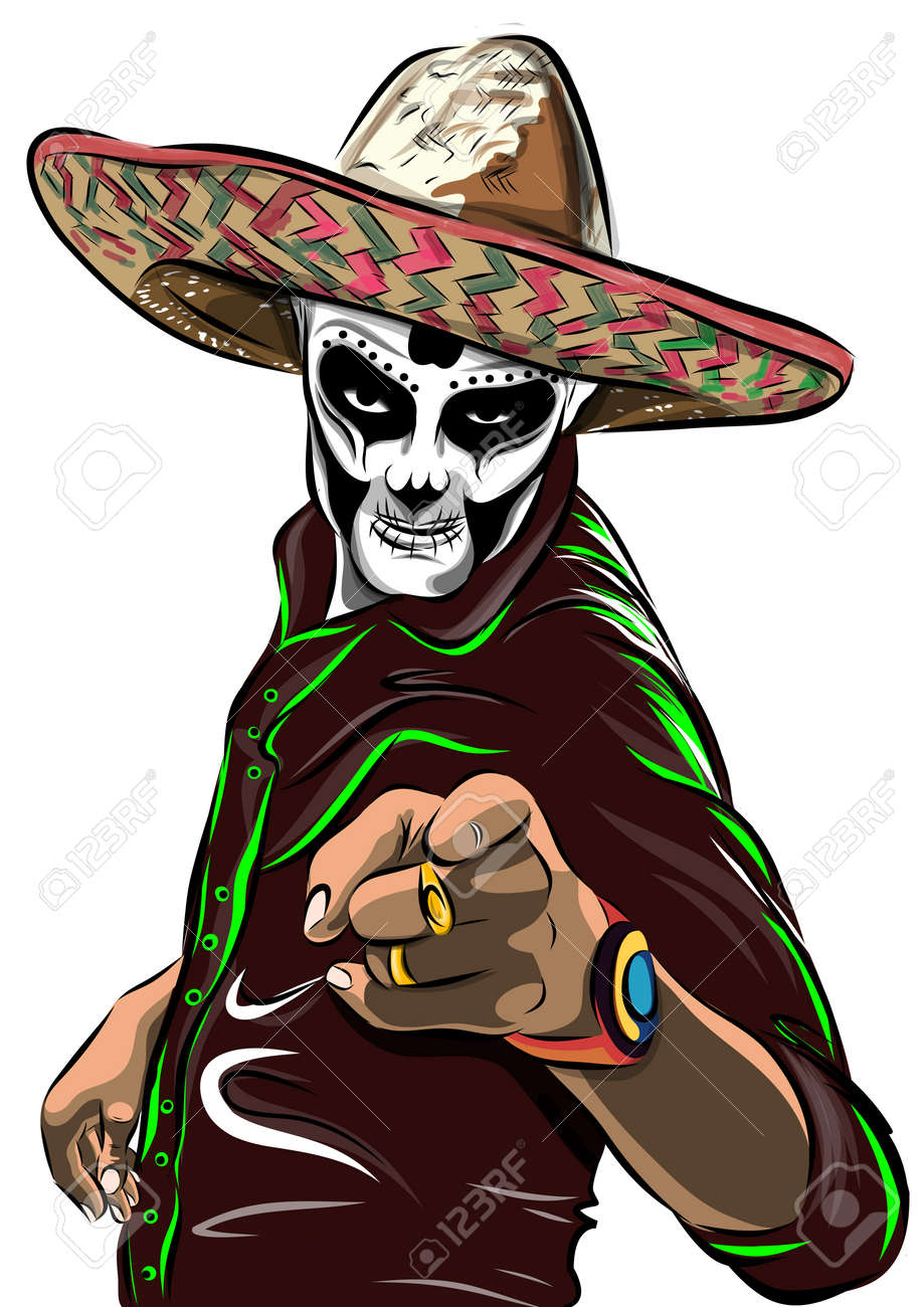 Day of the dead sugar skull man vector. Mexican skull. Day of the dead skull. Dia de los muertos skull illustration. vector illustration. - 57958838