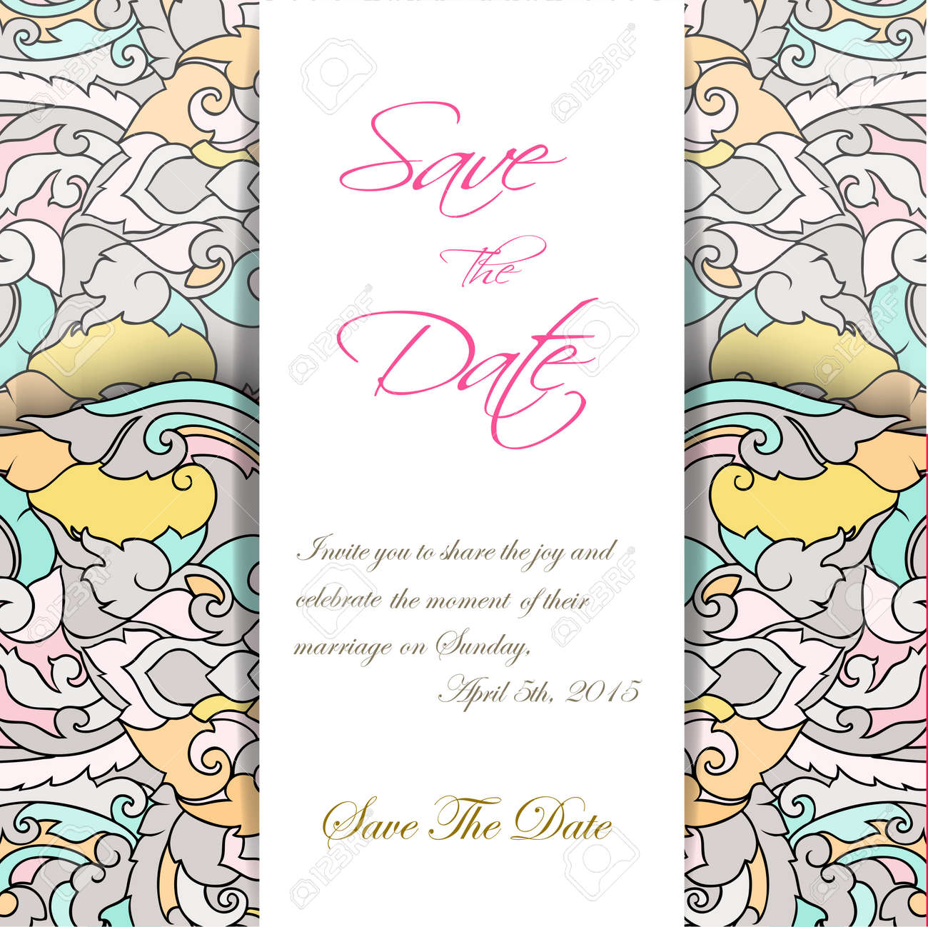 Wedding Invitation Card Suite With Thai Ornament Templates Vector