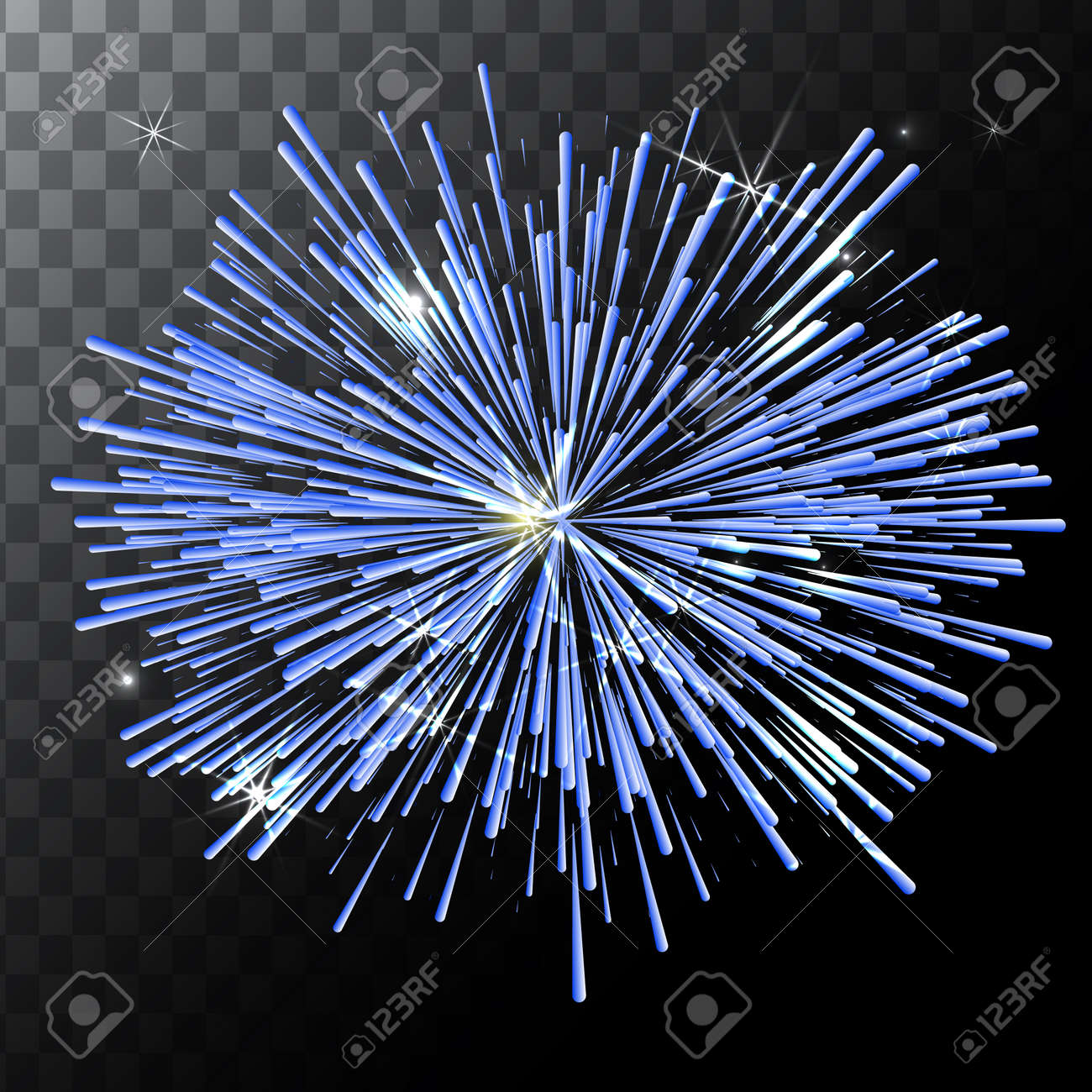 Vector isolated colorful fireworks on a transparent background. - 59113211