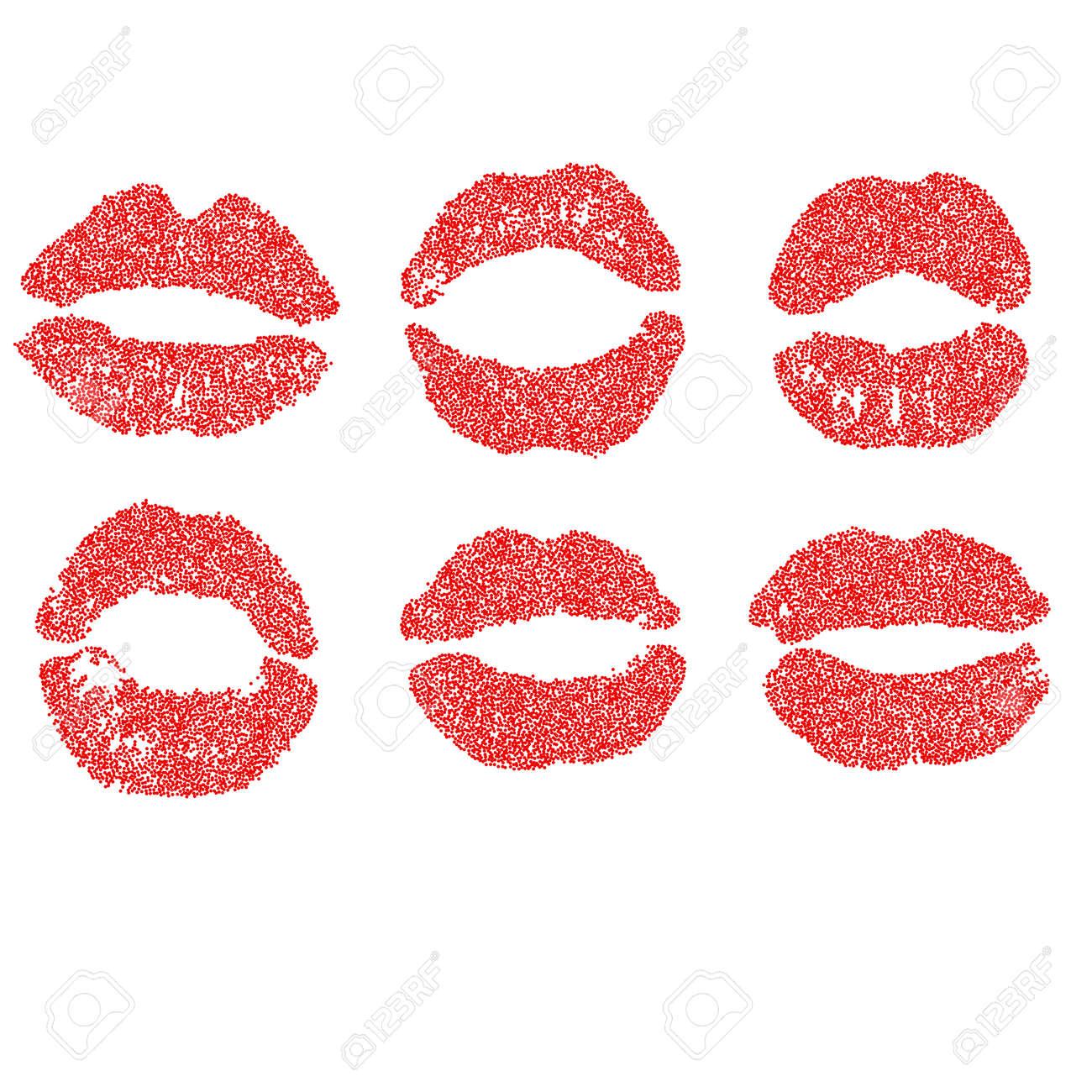 Womans Lippe Gepunkteten Set. Mädchen Mund Schließen Mit Rotem ...