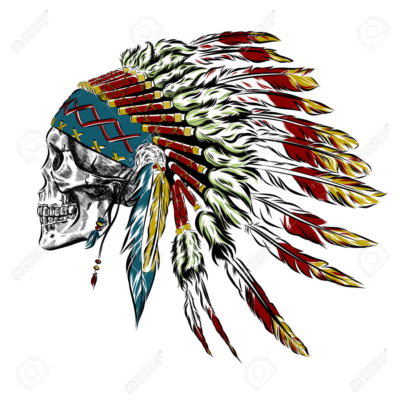 Hand Drawn Native American Indian Feather Headdress With Human Skull. Vector Illustration EPS - 60509855