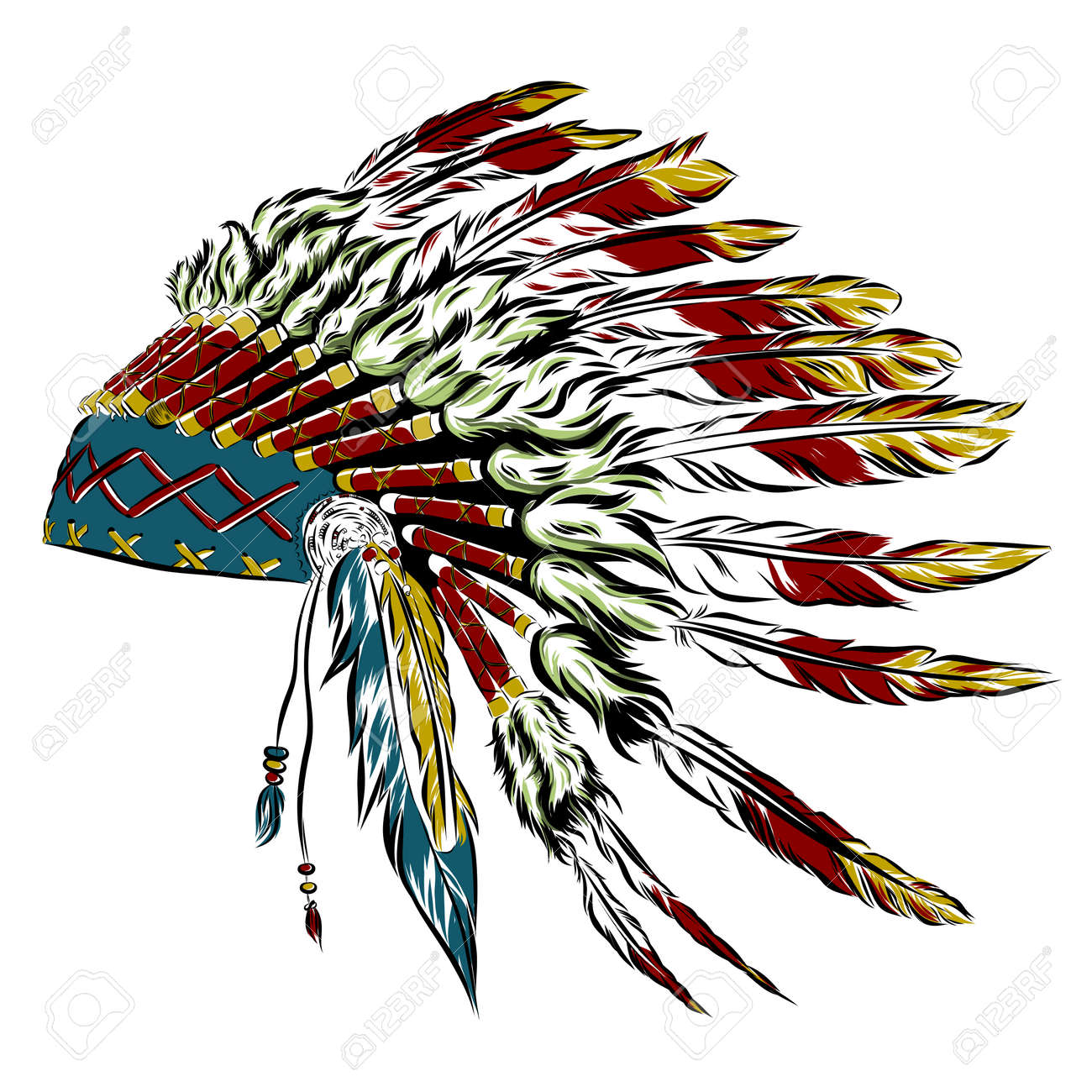 native american indian headdress with feathers in a sketch style rh 123rf com indian feather headdress clipart