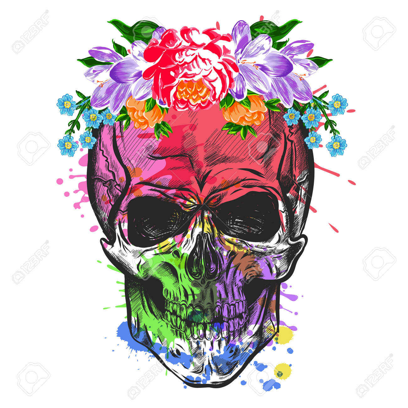 Skull And Flowers. Sketch With Watercolor Effect. Vector - 60996615