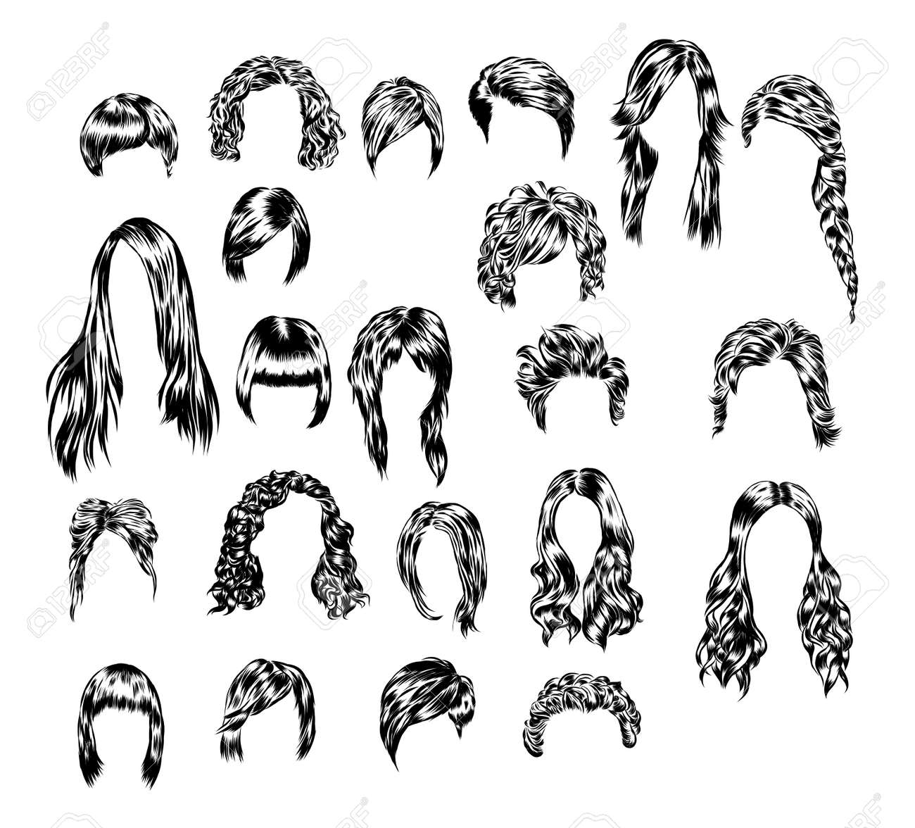 Hand drawn set of different women s hair styles. - 64686813