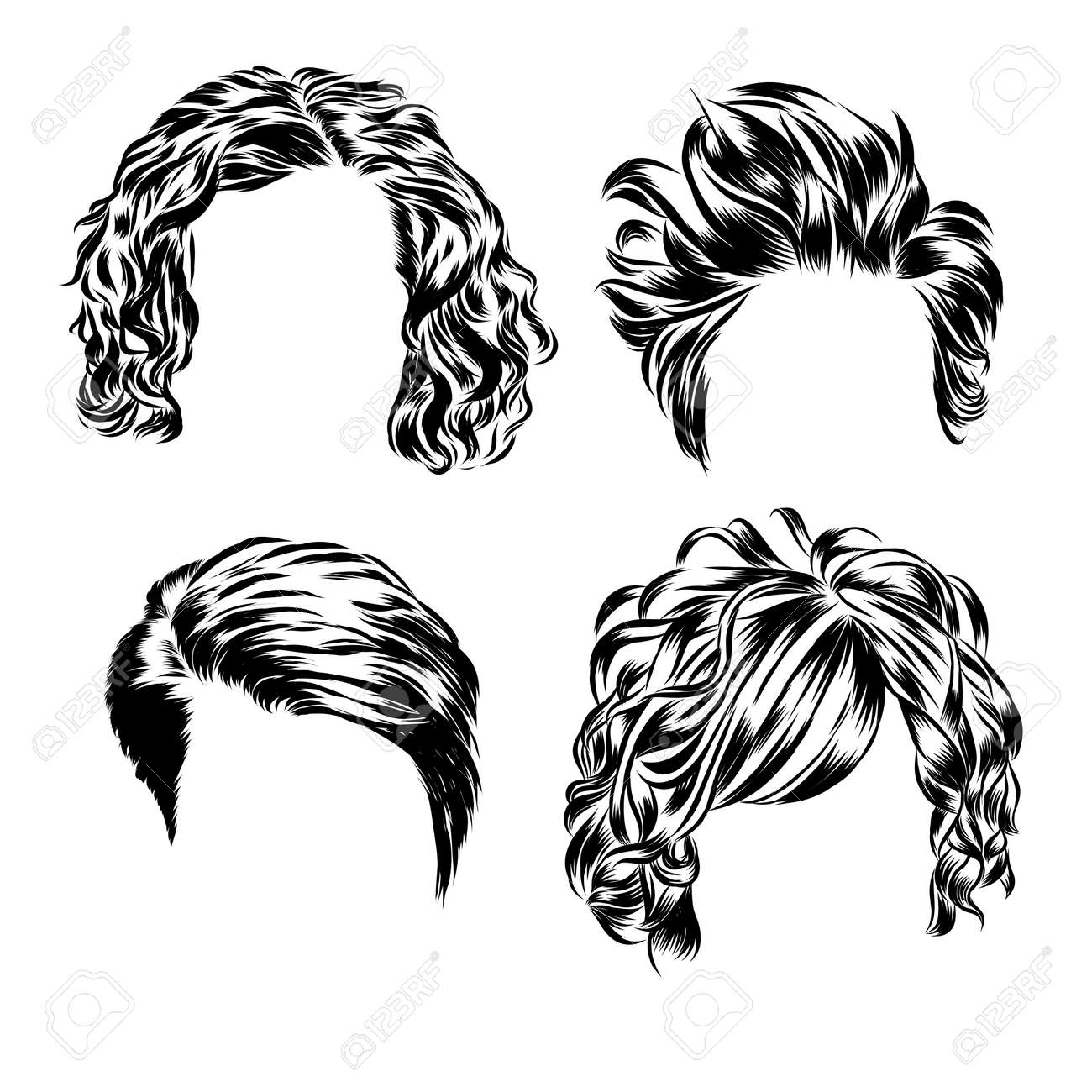 Hand Drawn Set Of Different Women S Hair Styles EPS Royalty - Different hair style drawing