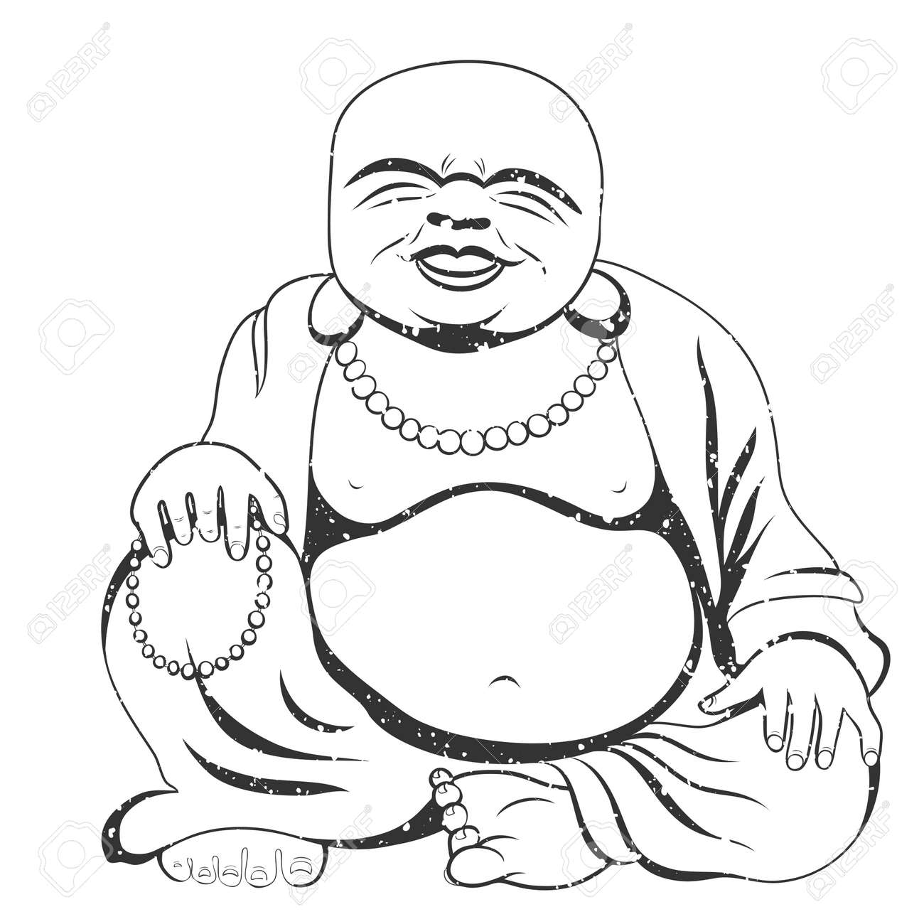 Laughing Buddha or Hotei sitting. Vector illustration. - 69253513