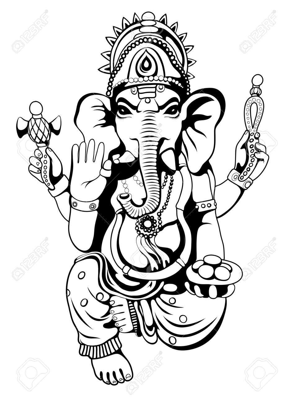 Lord ganesha sketch on a background vector stock vector 70882746