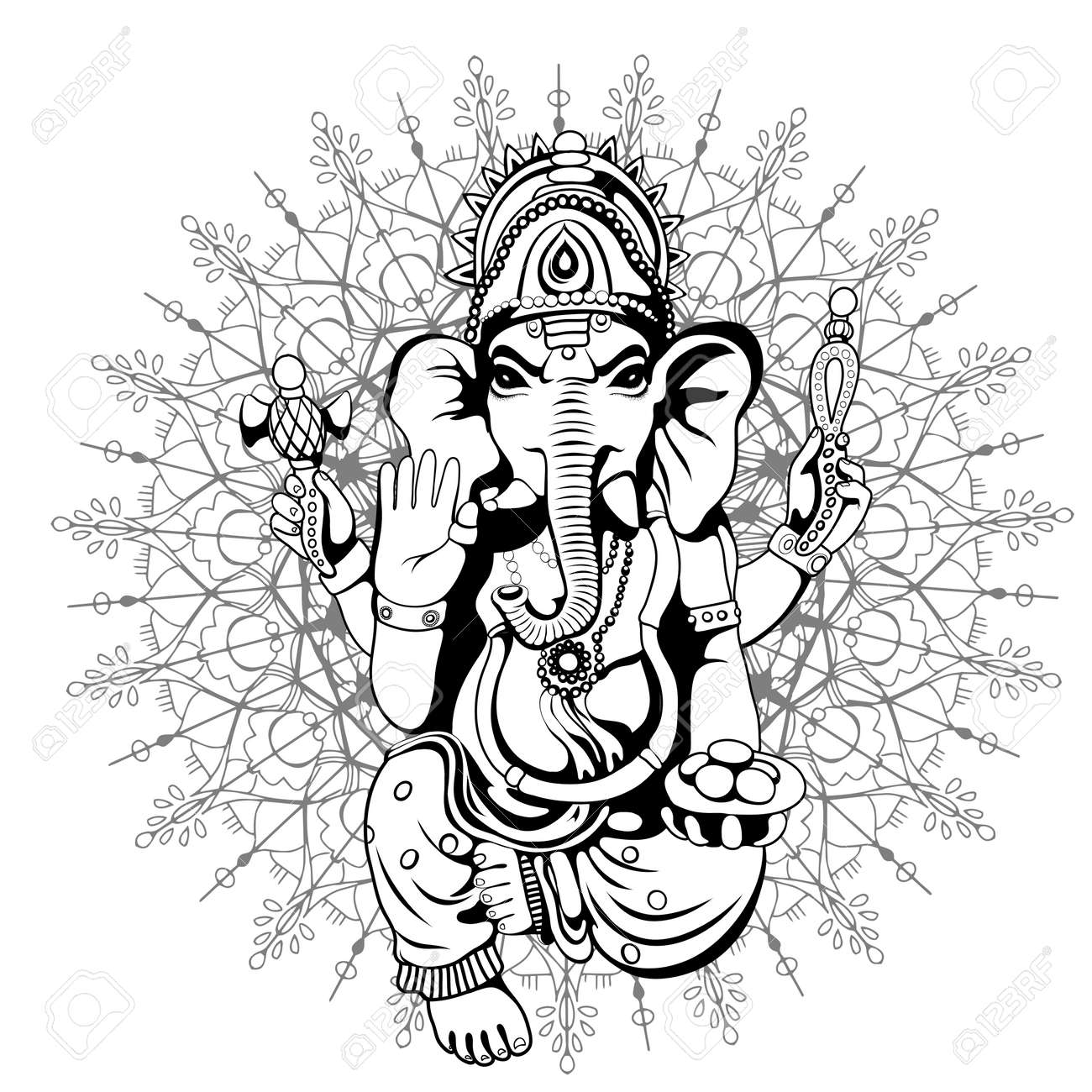 Lord ganesha sketch on a background stock vector 70882733