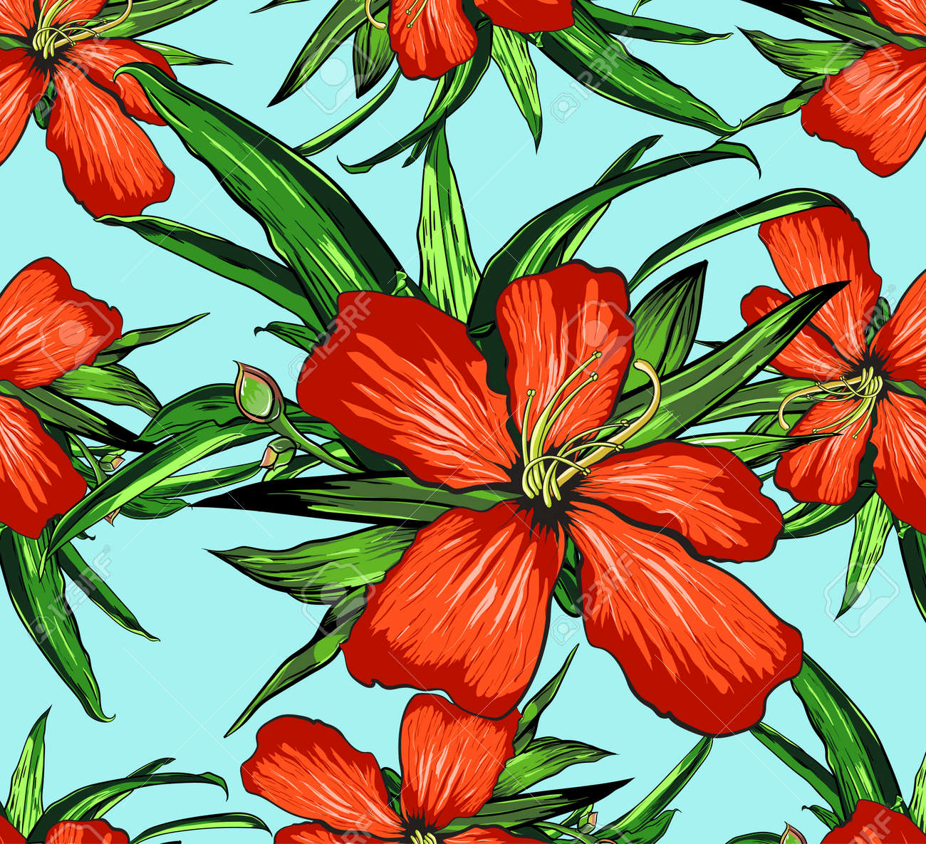 Tropical Flowers on a Background - Vintage Seamless Pattern - in vector. - 71497835