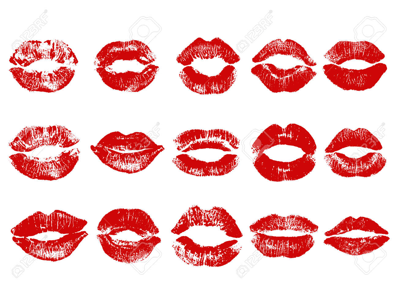 Print of red lips. Vector illustration on a white background. EPS - 77216804