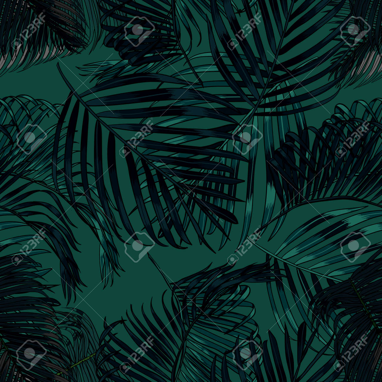 Palm leaves silhouette on the green background. Vector seamless pattern with tropical plants. - 82407678