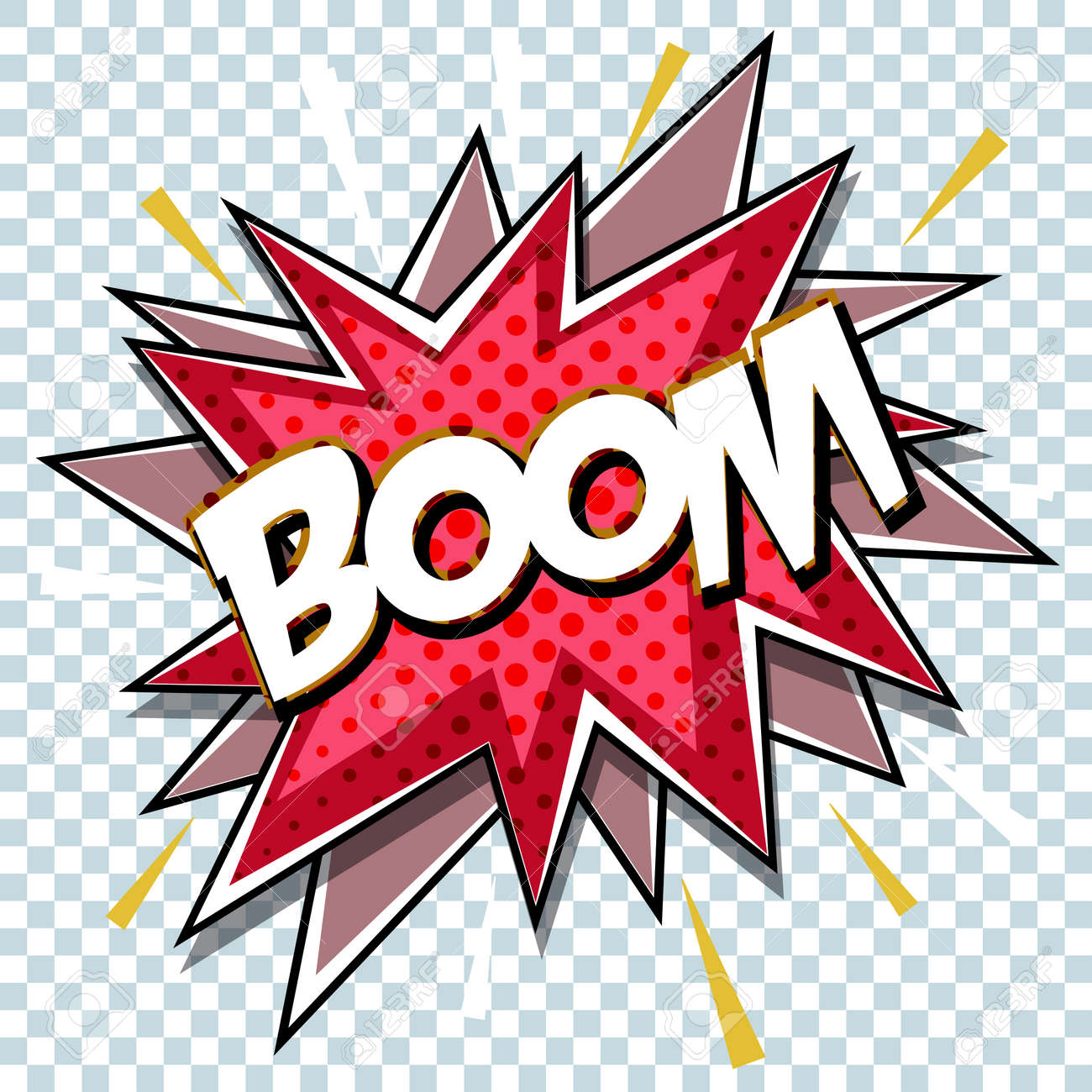 Cartoon comic graphic design for explosion blast dialog box background with sound BOOM. Vector - 84956245