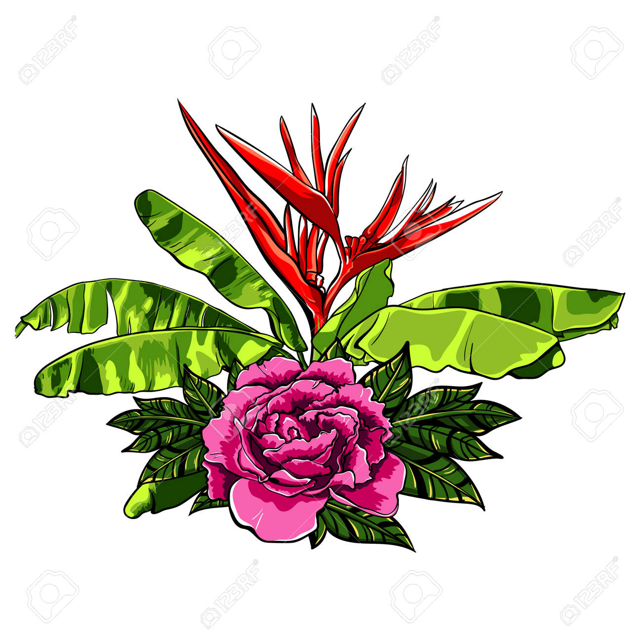 Bouquet Of Tropical Flowers With Rose On White Summer Background