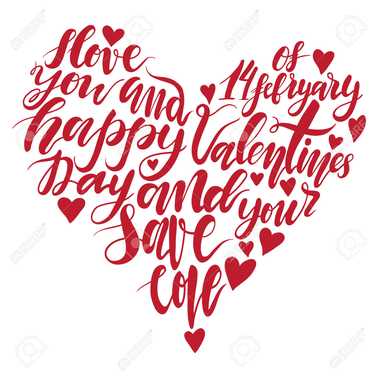 Heart Handwritten Lettering Quote About Love To Valentines Day ...