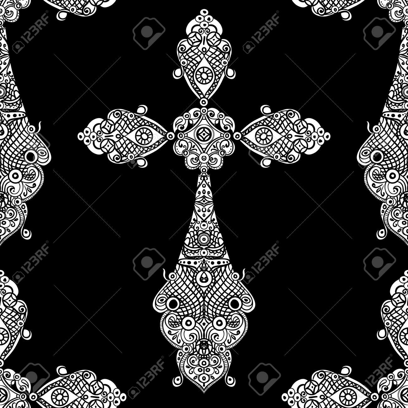 Banque dimages vintage religious crosses in black and white seamless pattern with repeated motif of crucifix for fabric or heraldic design