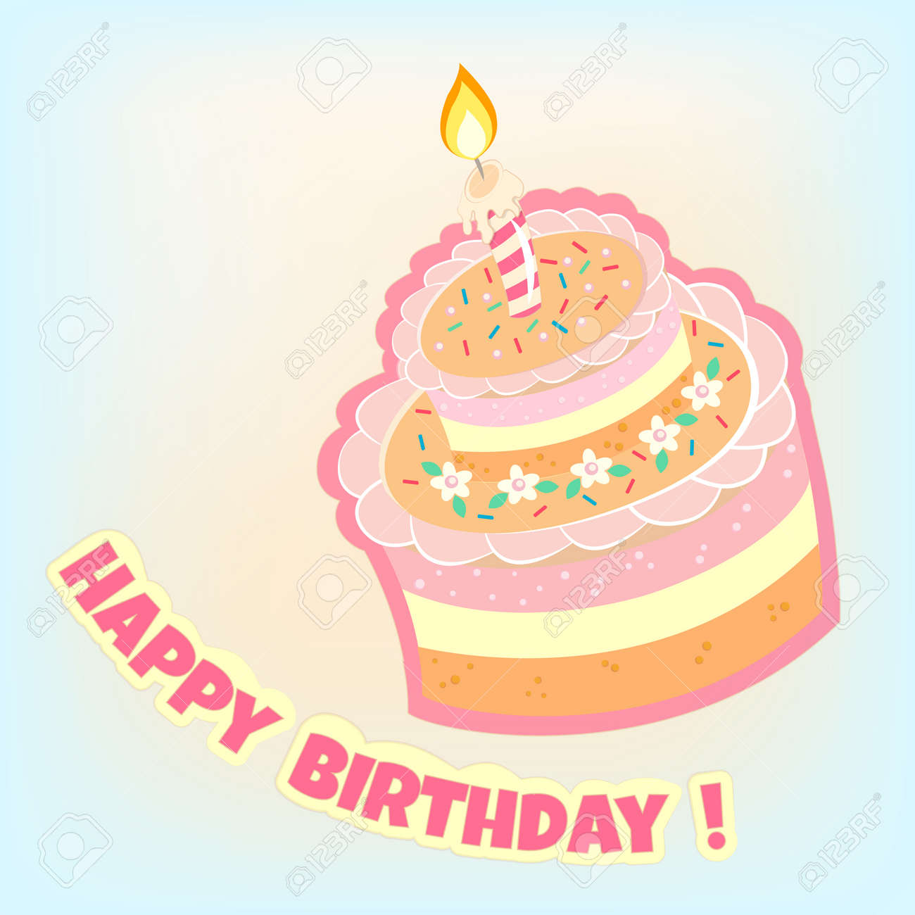 Happy Birthday Card Birthday Cake Vector Illustration EPS10