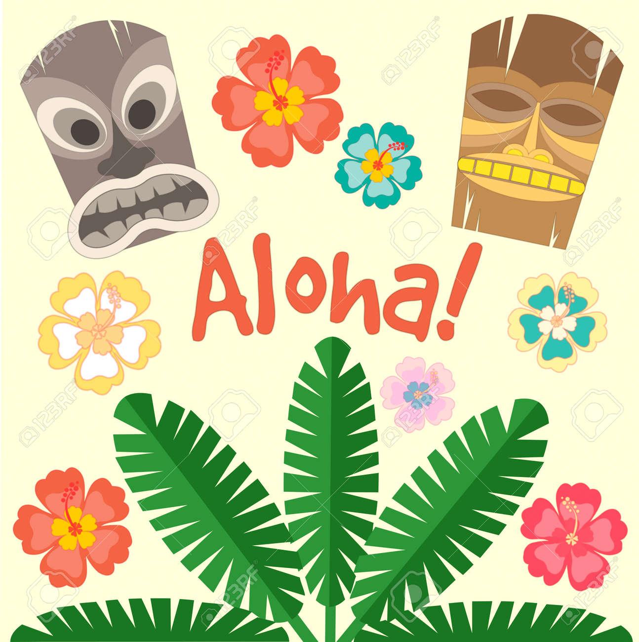Hawaii Aloha Poster. Vector Il...