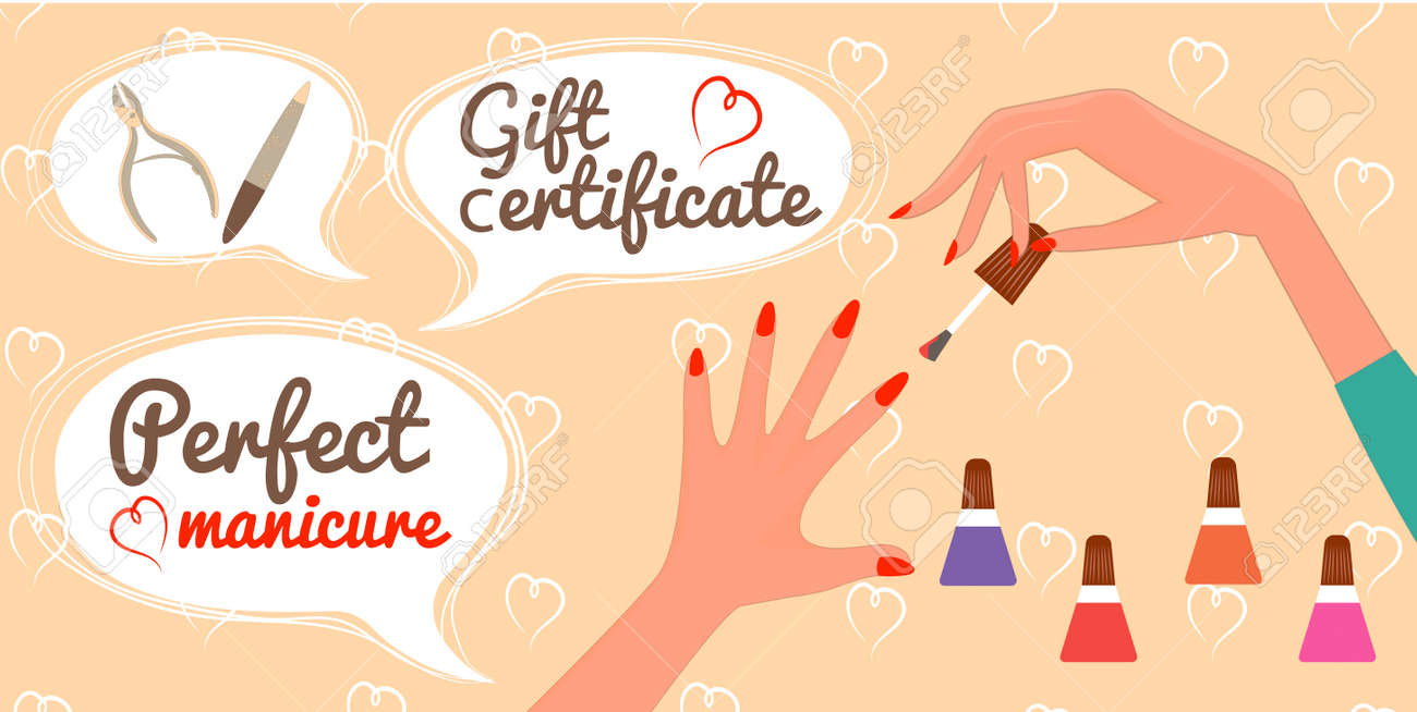 Gift Certificate Perfect Manicure Nail Salon Royalty Free Cliparts ...