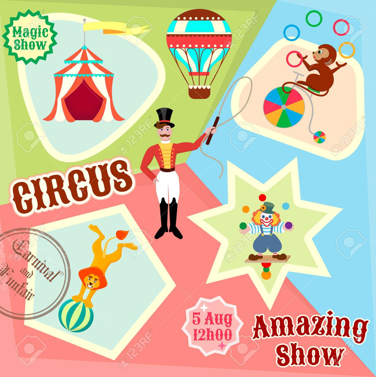Affiches De Cirque Jonglage De Clown Lion Sur Le Ballon Et La