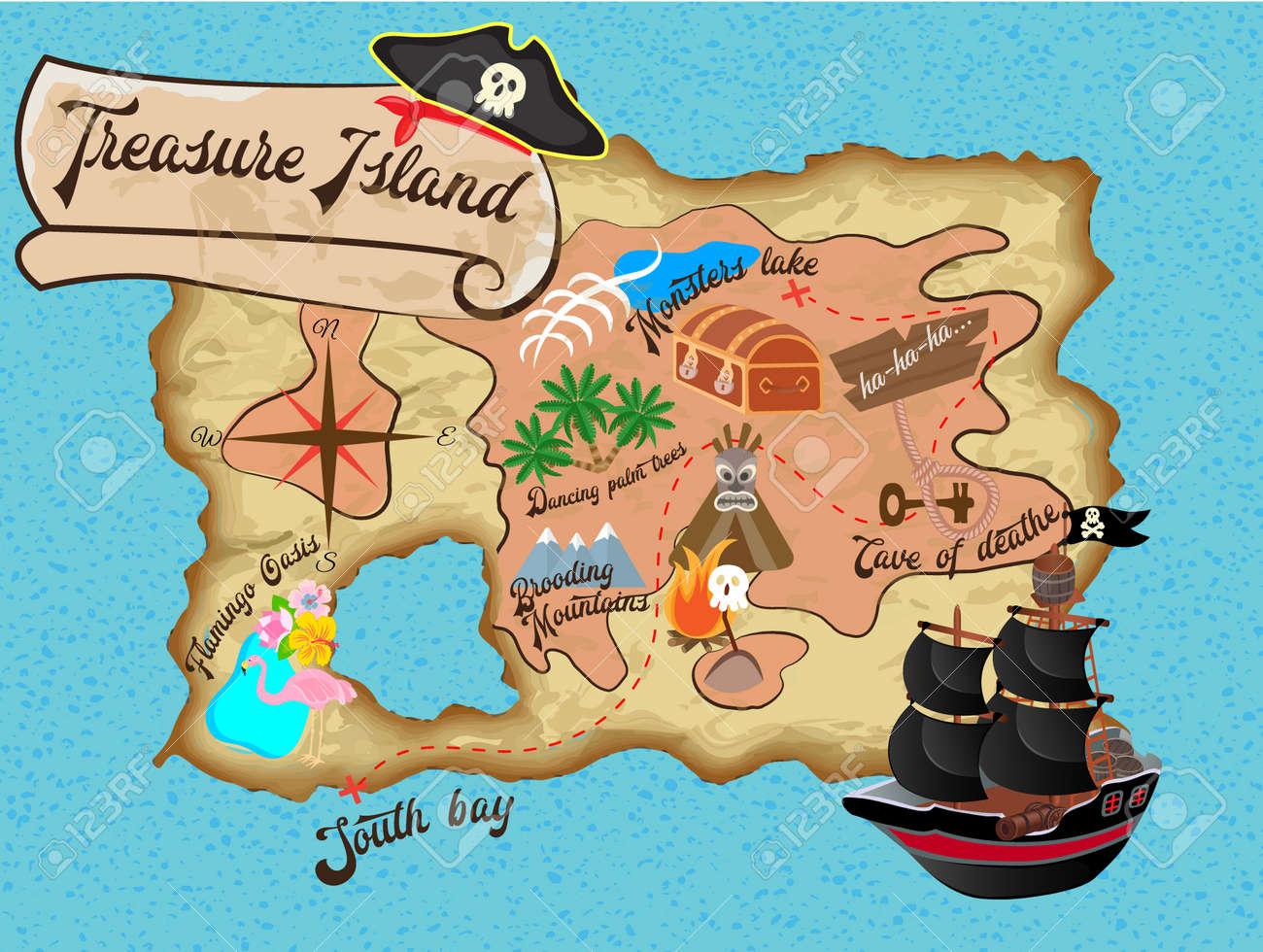 Mapa Isla Del Tesoro.Mapa De La Isla Del Tesoro Para La Ilustracion Vectorial Pirate Quest