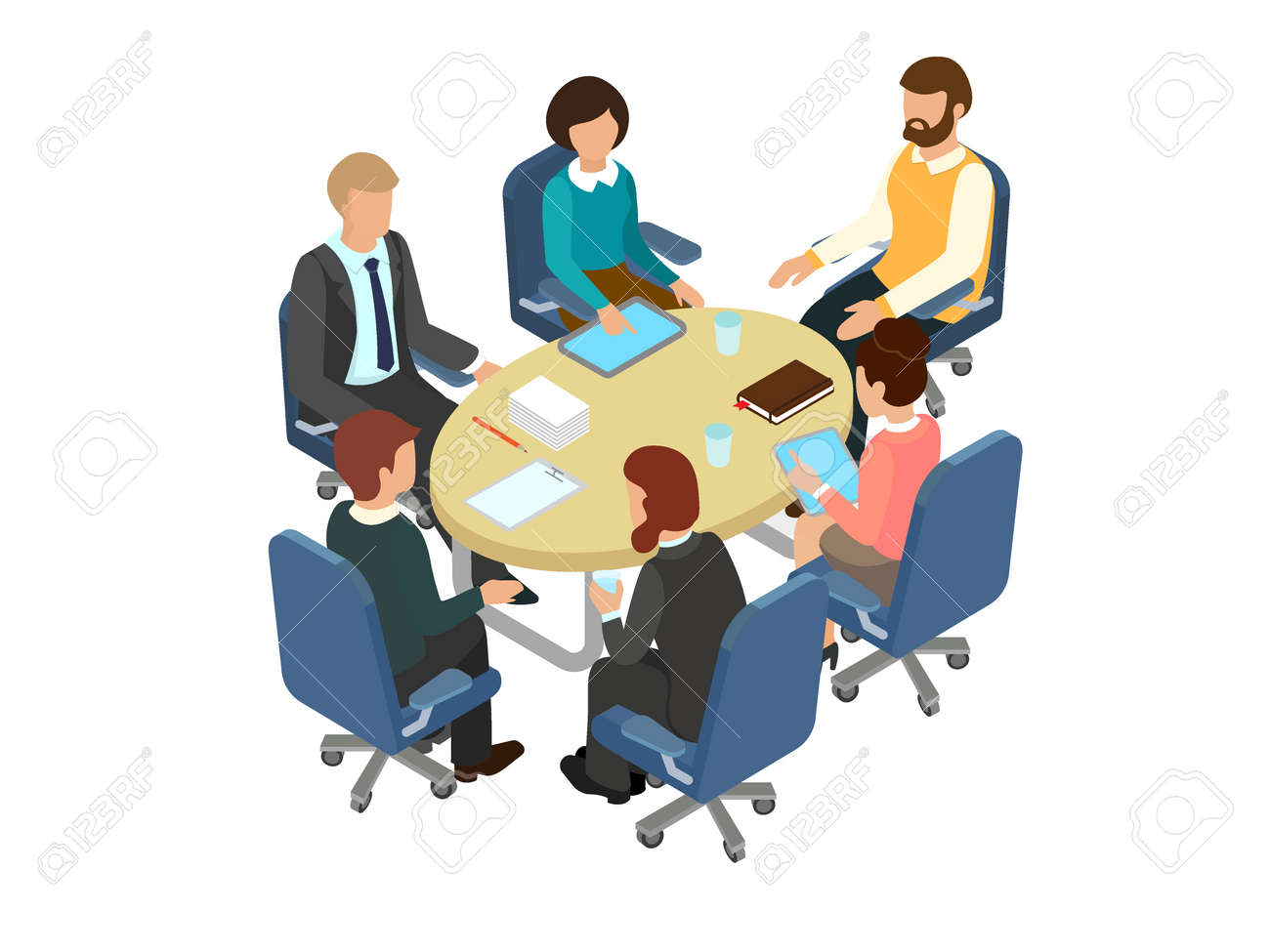 Round Table La Mesa.Conversation At The Round Table In The Office Business Brainstorming