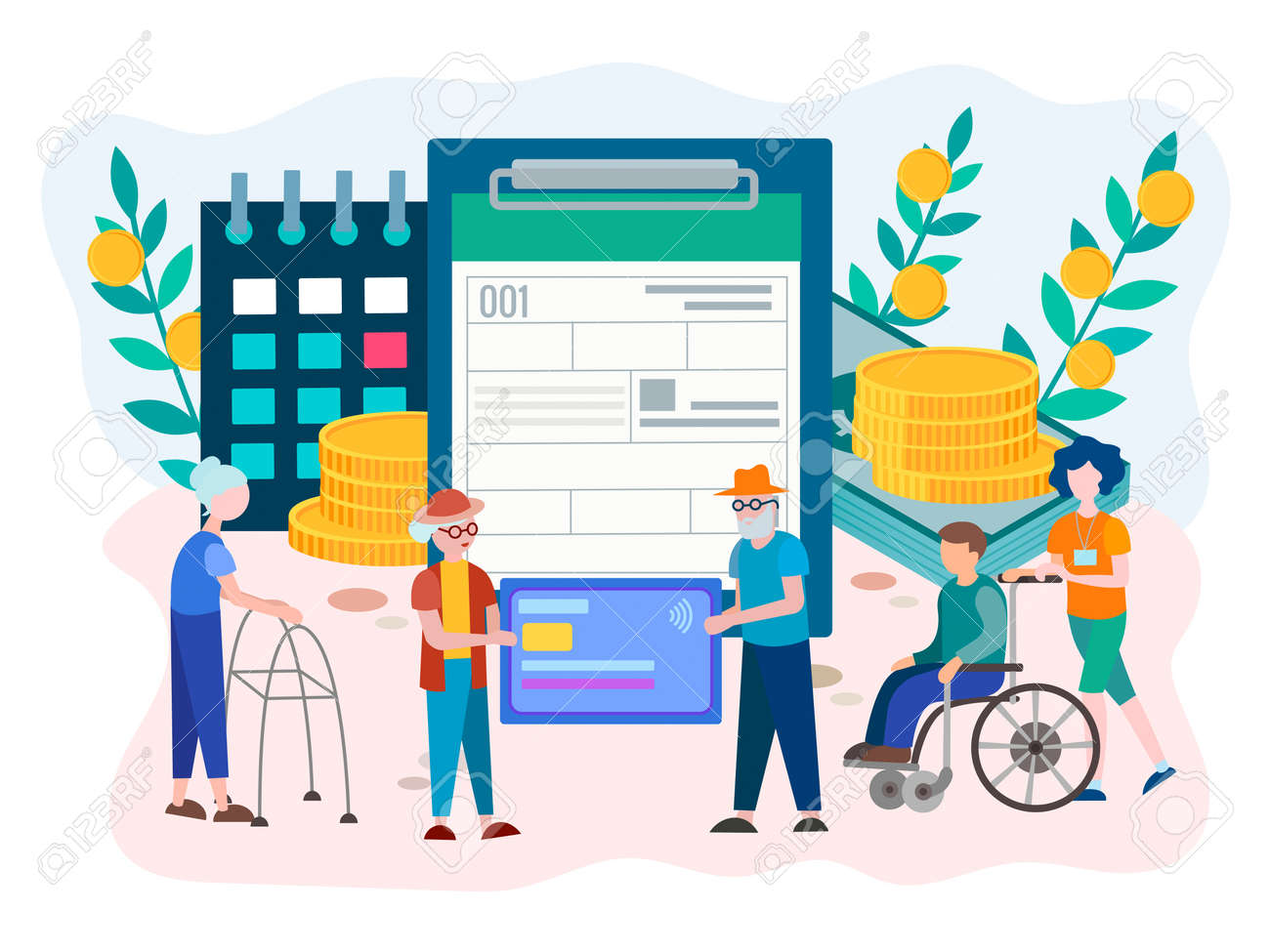 Social Security Benefits Form filling for pensioners and disabled person. Social Security Disability Claim Concept. Vector illustration. - 127093004