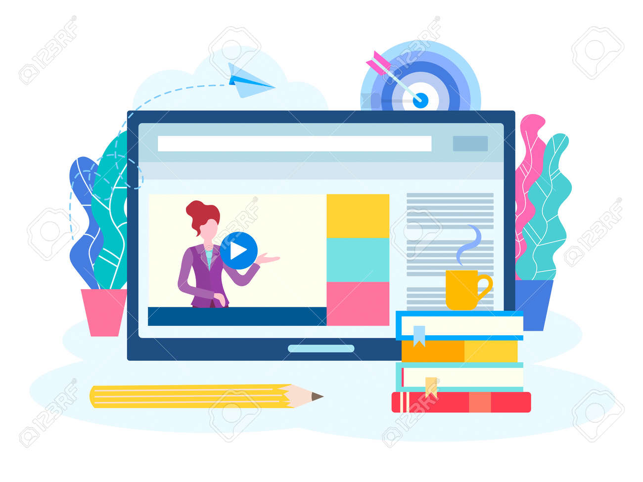 Online lesson, webinar, seminar, courses on the Internet. A young teacher conducts a lesson online. Vector illustration for social media marketing. - 120440617