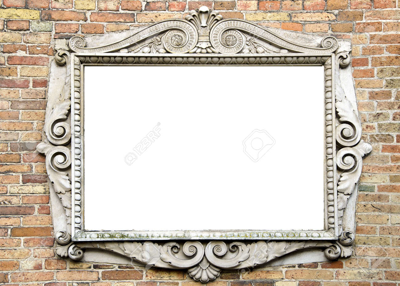old wall with original vintage and epmty frame for text - 11818852