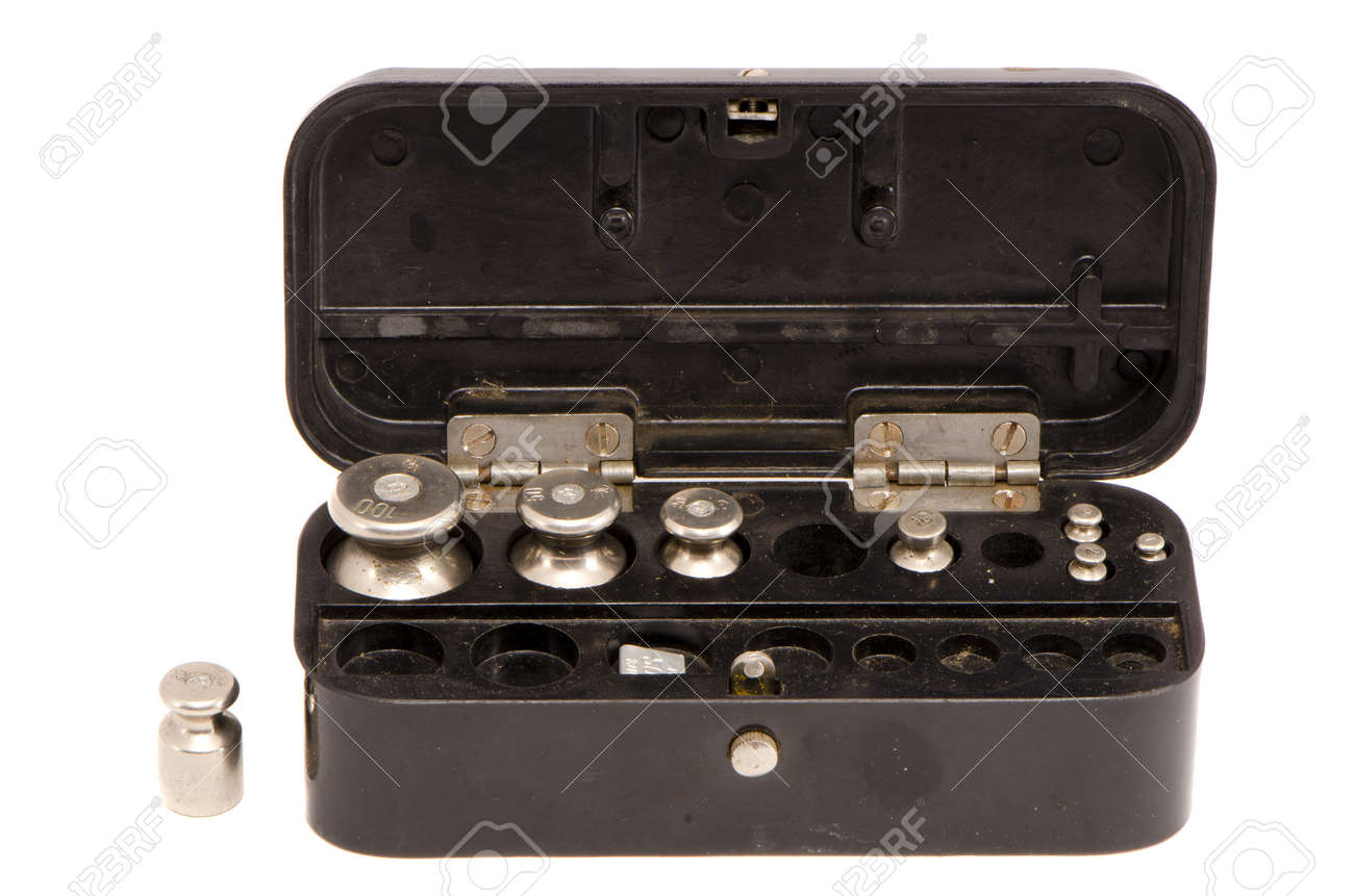 isolated on white balance metal weights black box Stock Photo - 12442305