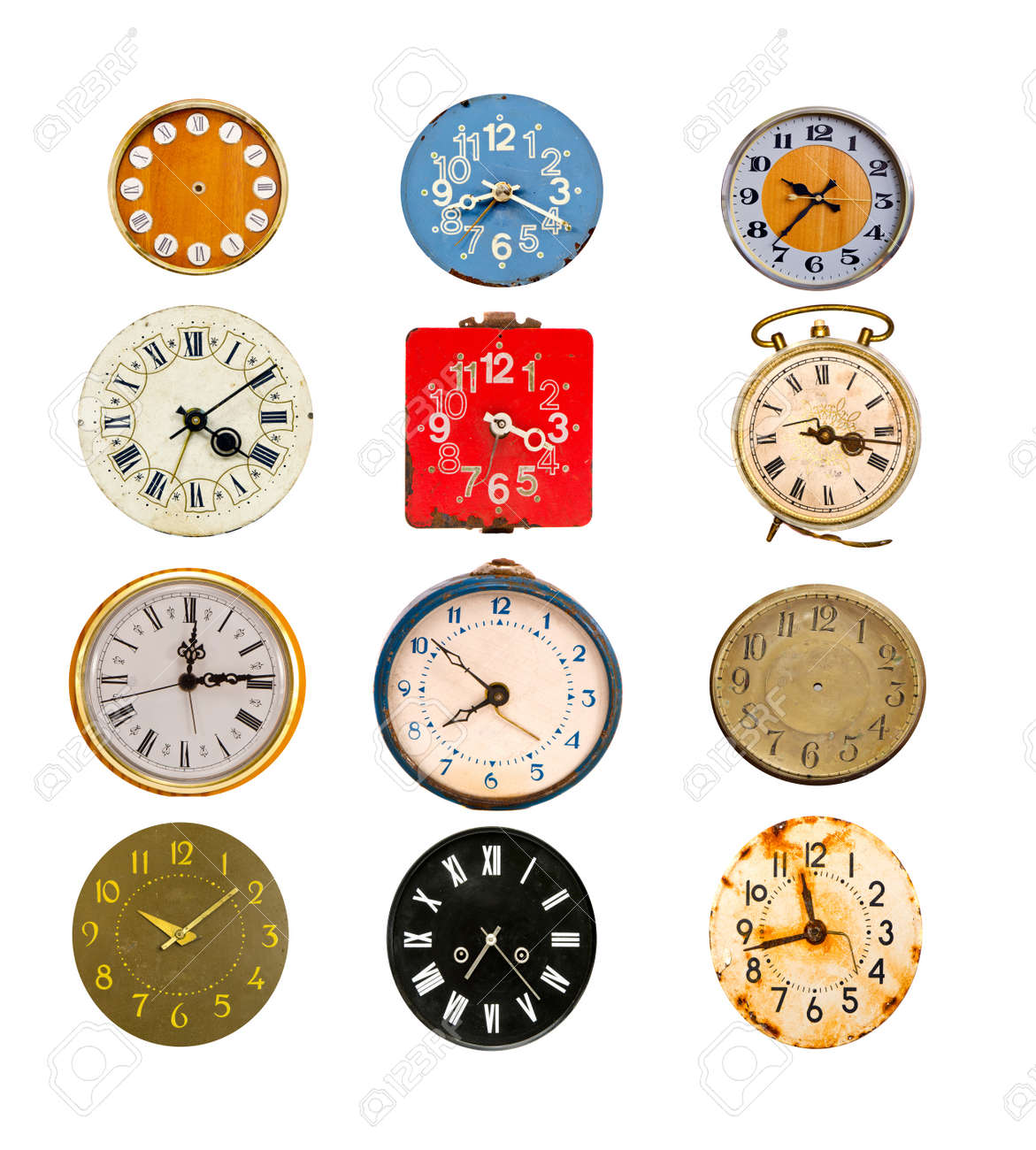 antique colorful clock dial collection isolated on white - 16133579