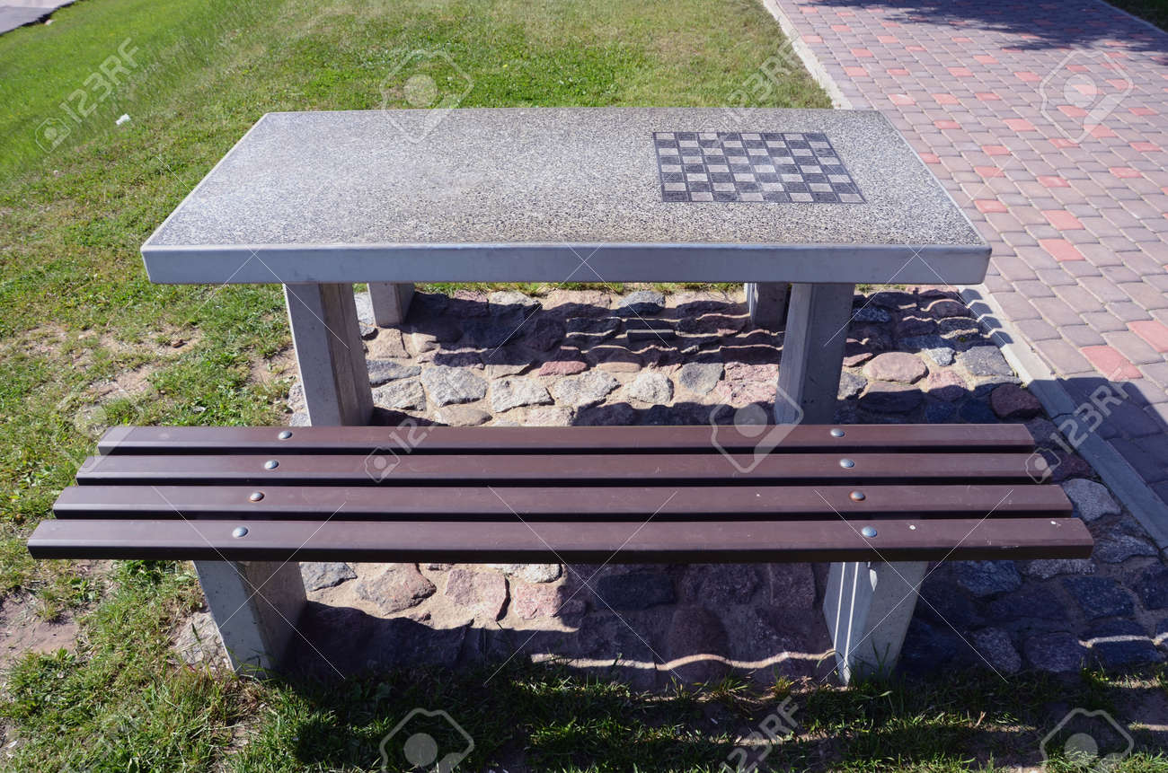 Original Design Stone Table In City Park With Chessboard Stock Photo    16150813
