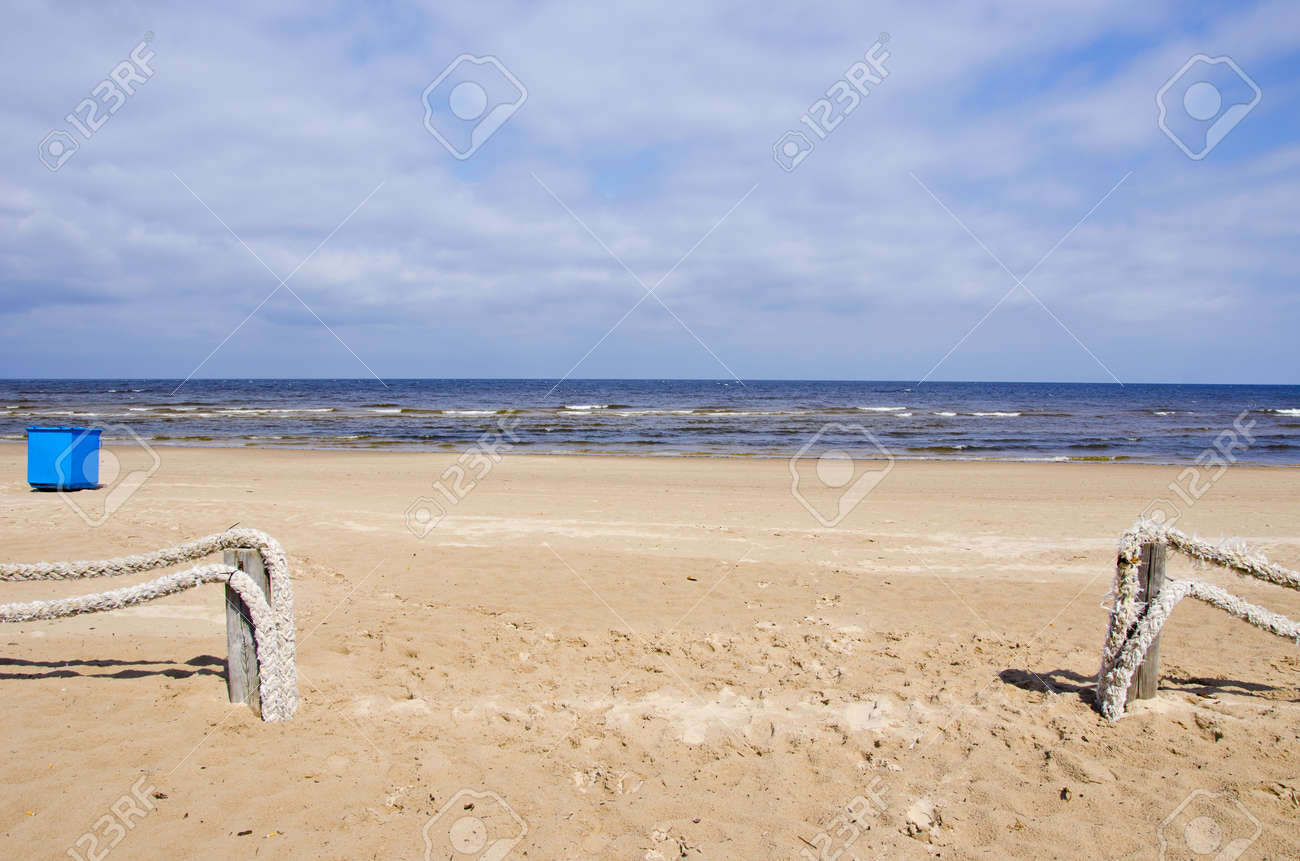 morning sea in resort beach and ropes fence Stock Photo - 16262183