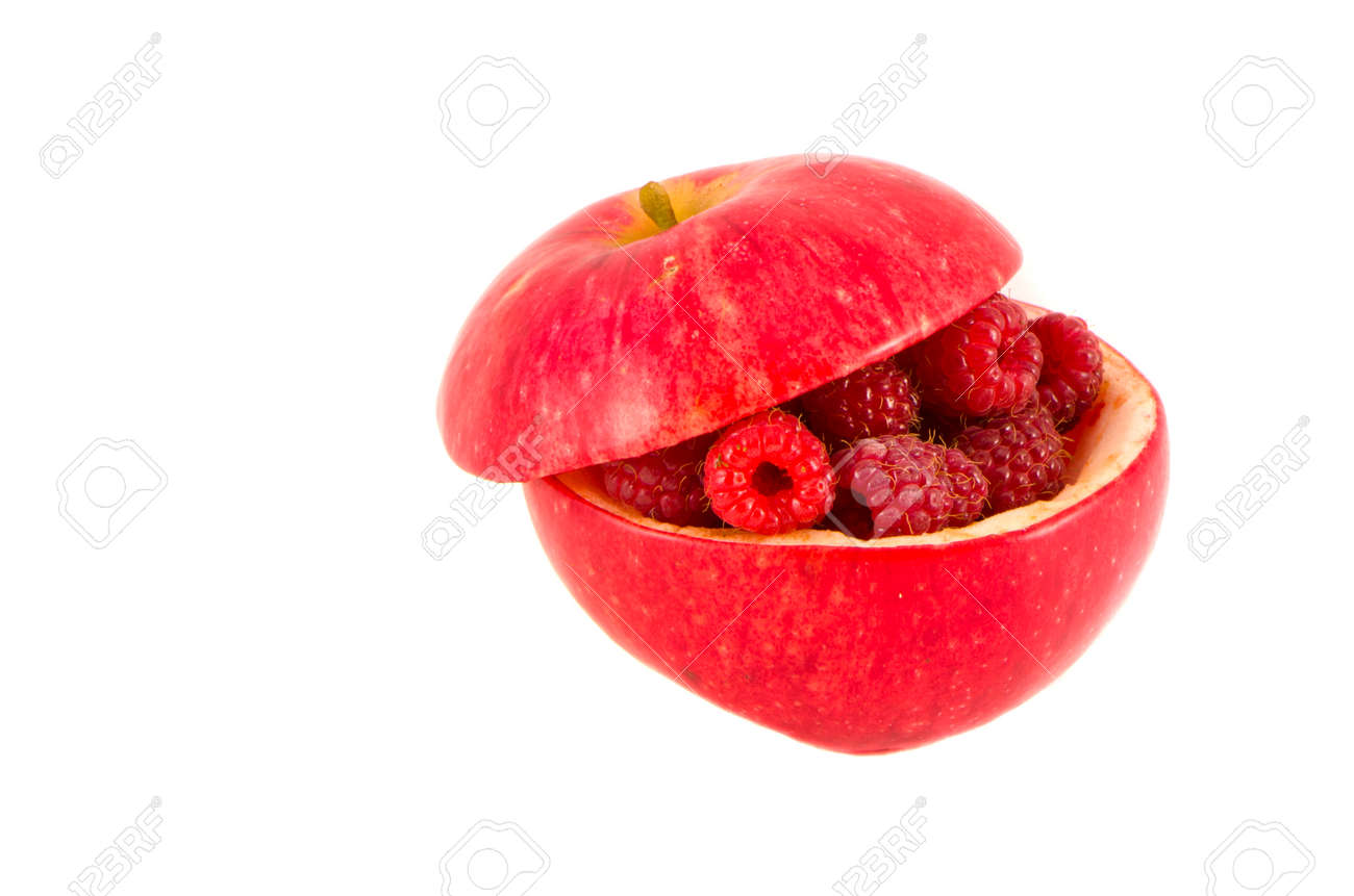 apple and raspberry isolated on white. healthy food concept - 22984286