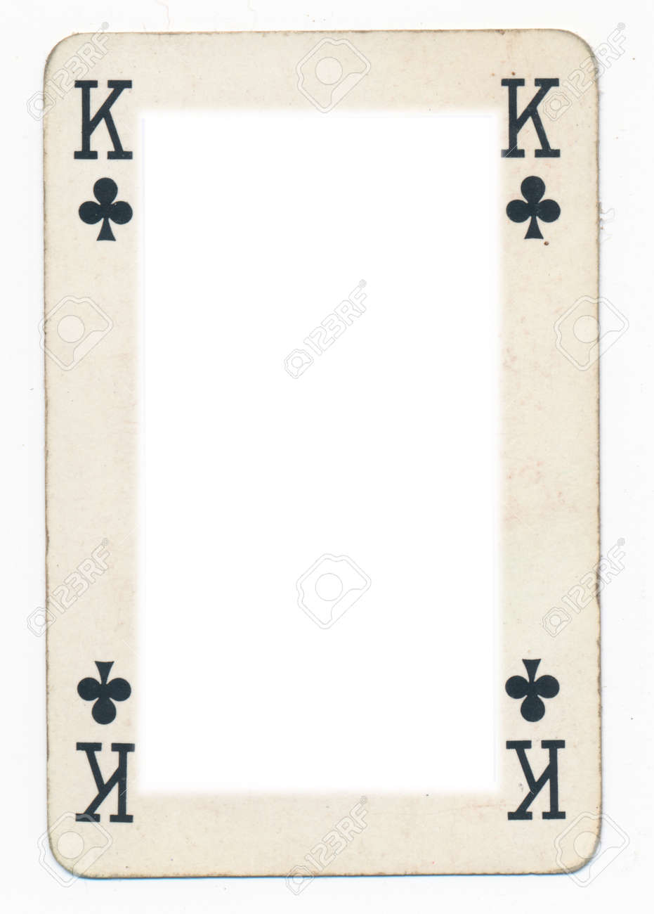 Frame From Old King Of Clubs Playing Card. Isolated On White Stock ...