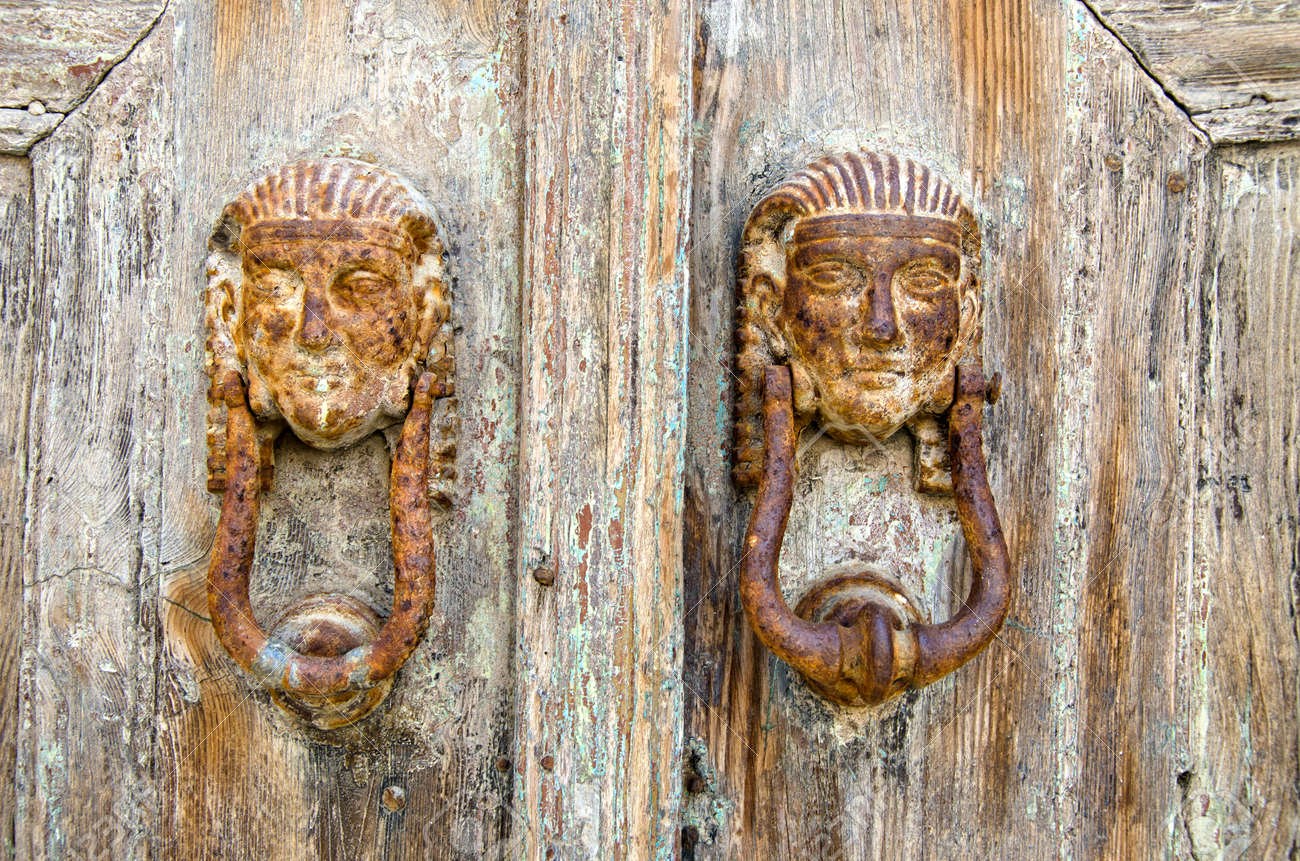 Picture of: Rusty Antique Door Knockers In Greek Island Stock Photo Picture And Royalty Free Image Image 46581014