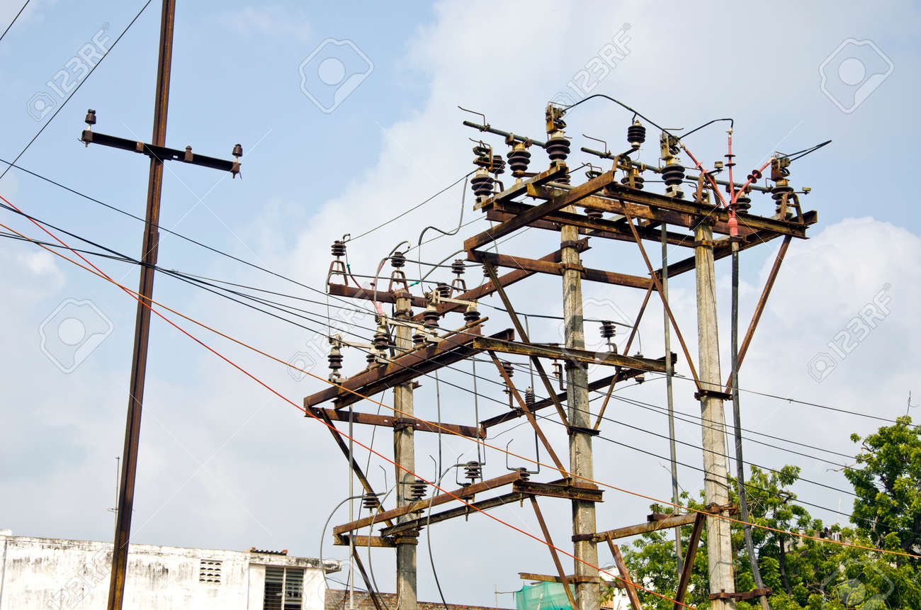 Stupendous Rusted Electricity Poles With Many Wires In Urban Area India Stock Wiring 101 Ferenstreekradiomeanderfmnl