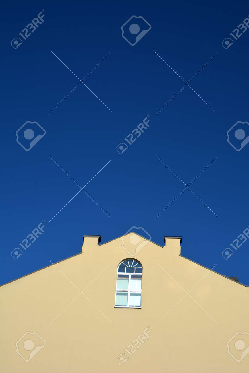Old wall with lonely window in city and blue sky background - 166693662