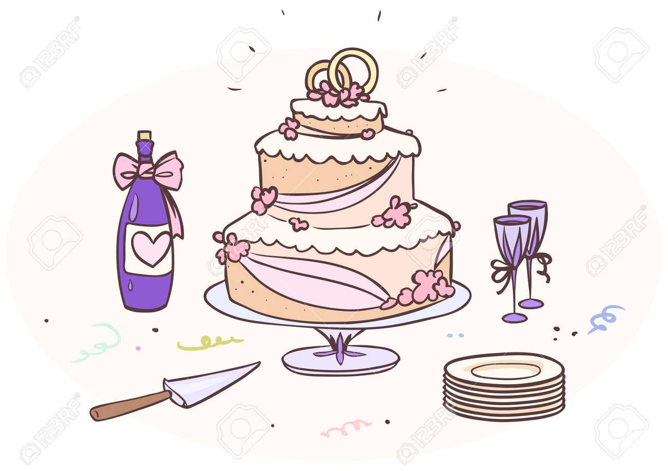 Cartoon Hochzeitstorte Mit Einer Flasche Und Glaser Lizenzfrei