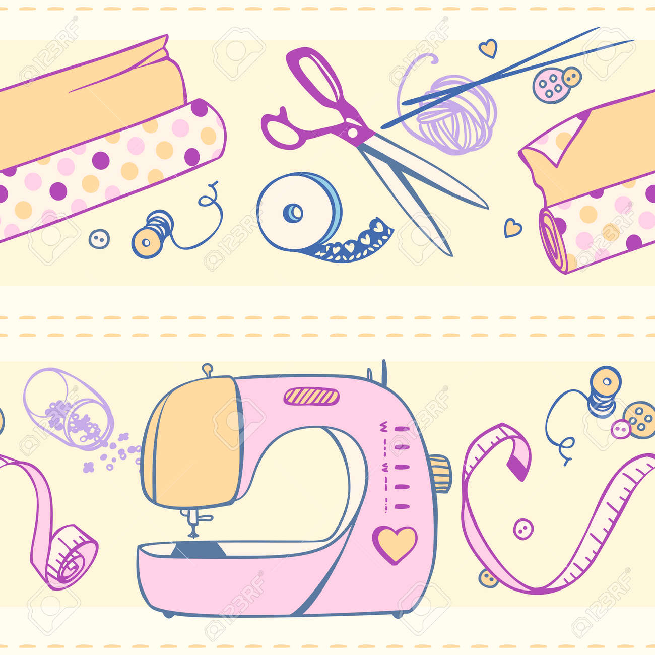 手芸とクラフトの項目のシームレス パターンのイラスト素材ベクタ