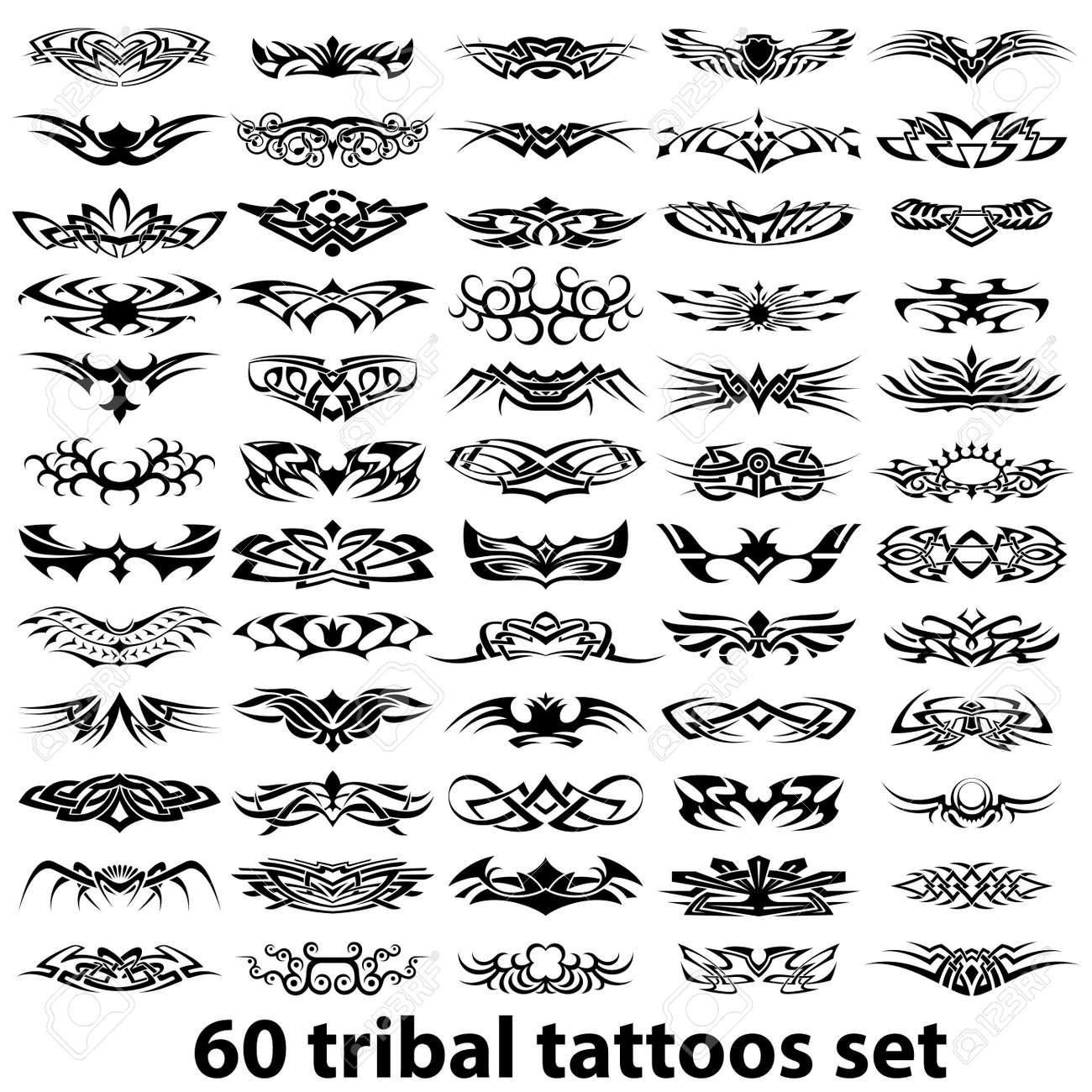 Tribal-Tattoos 13068698-60-various-tribal-tattoos-Stock-Vector-tribal-tattoo-design