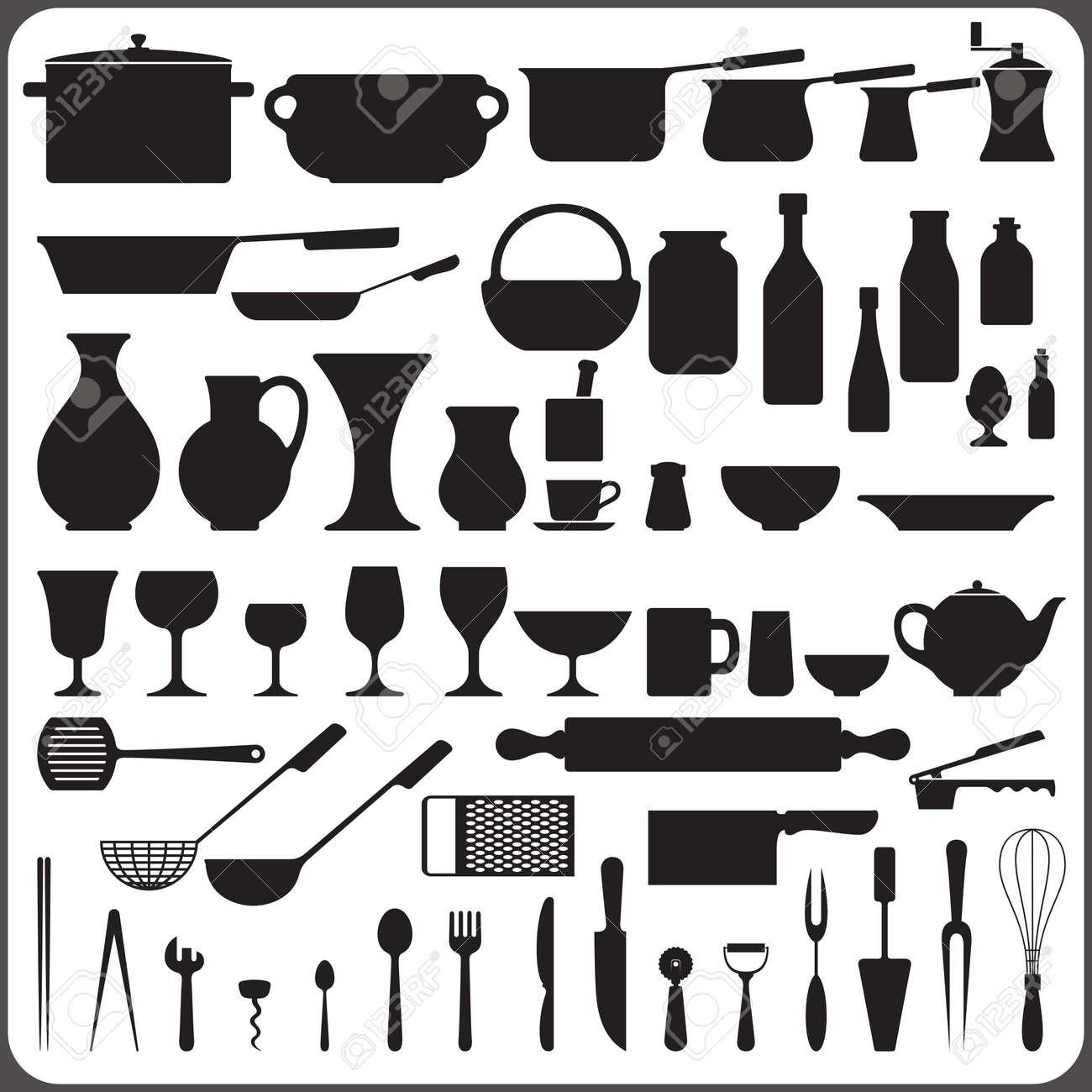 Set Da Cucina, Di 57 Sagome Di Oggetti Clipart Royalty-free ...
