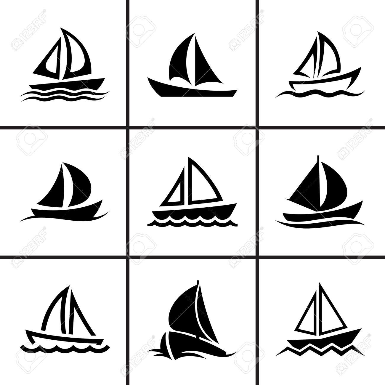 帆ボート アイコン セット ベクトル イラストのイラスト素材・ベクタ ...