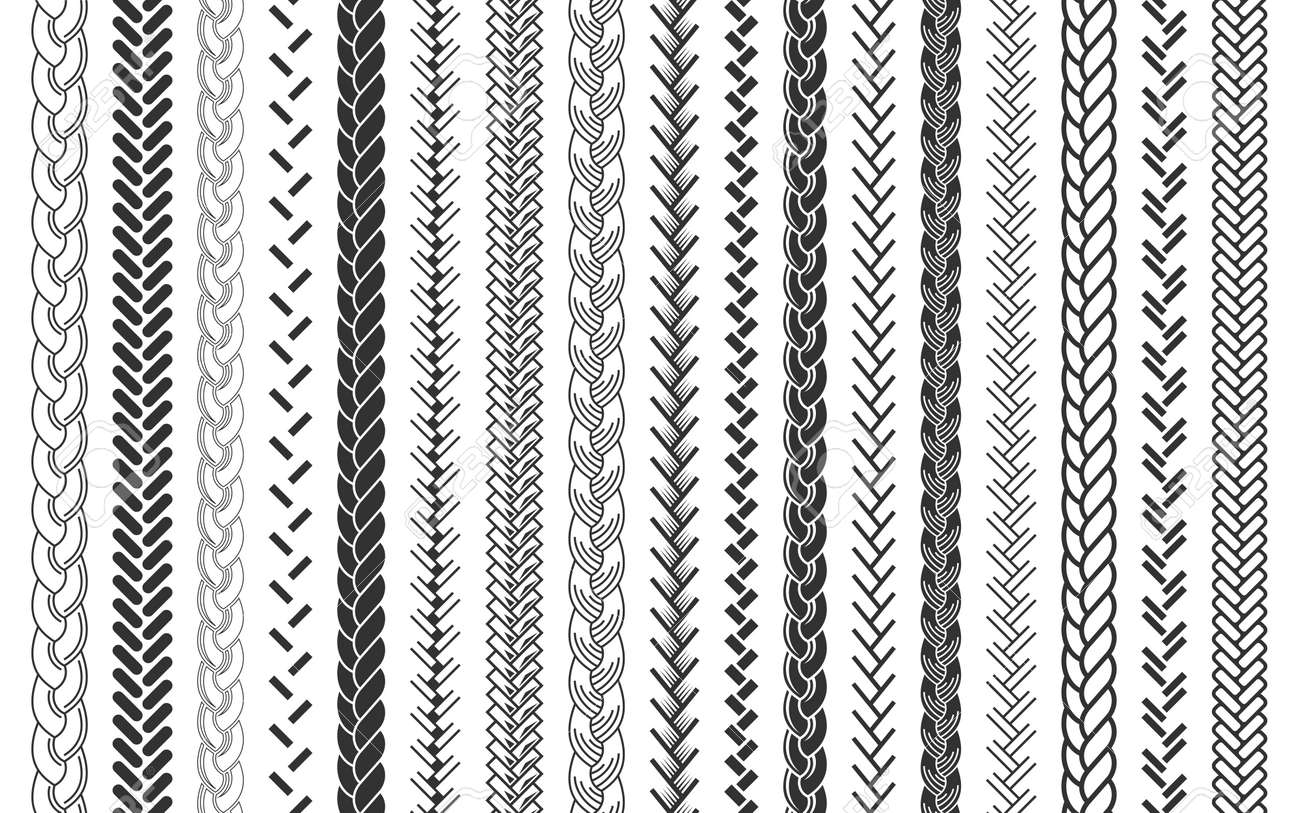 Plait and braids pattern brush set of braided ropes vector illustration - 112203615