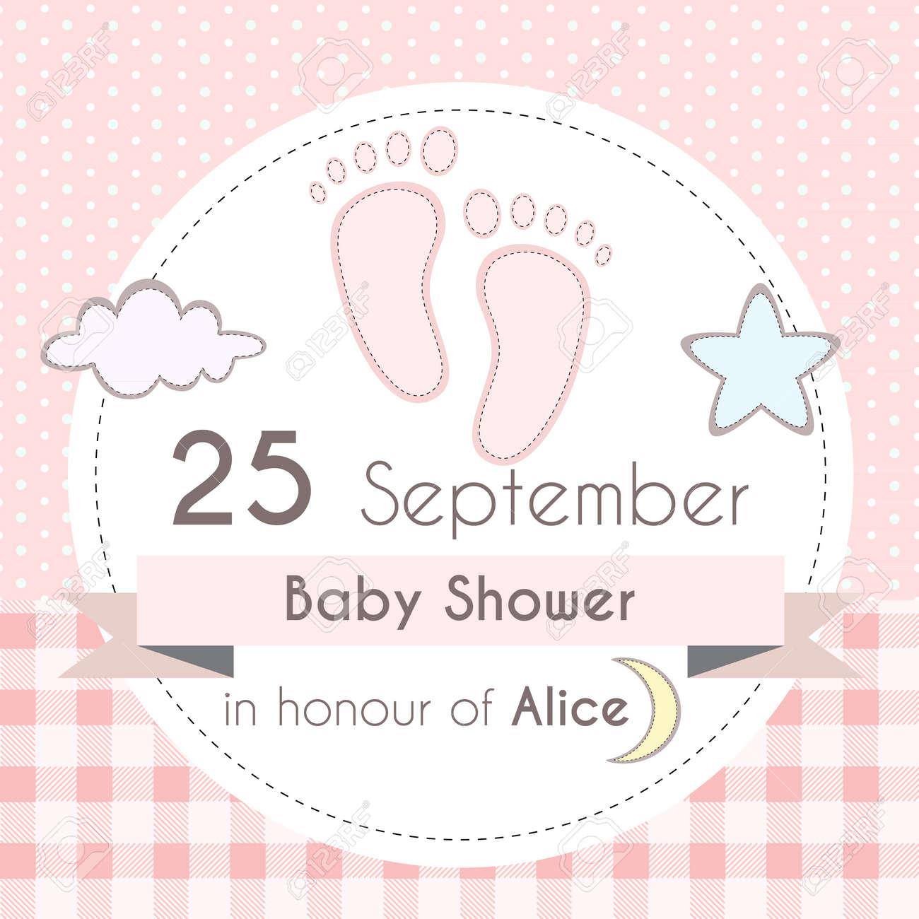 Baby-Dusche Mädchen Einladungskarte, Vorlage Für Das Scrapbooking ...